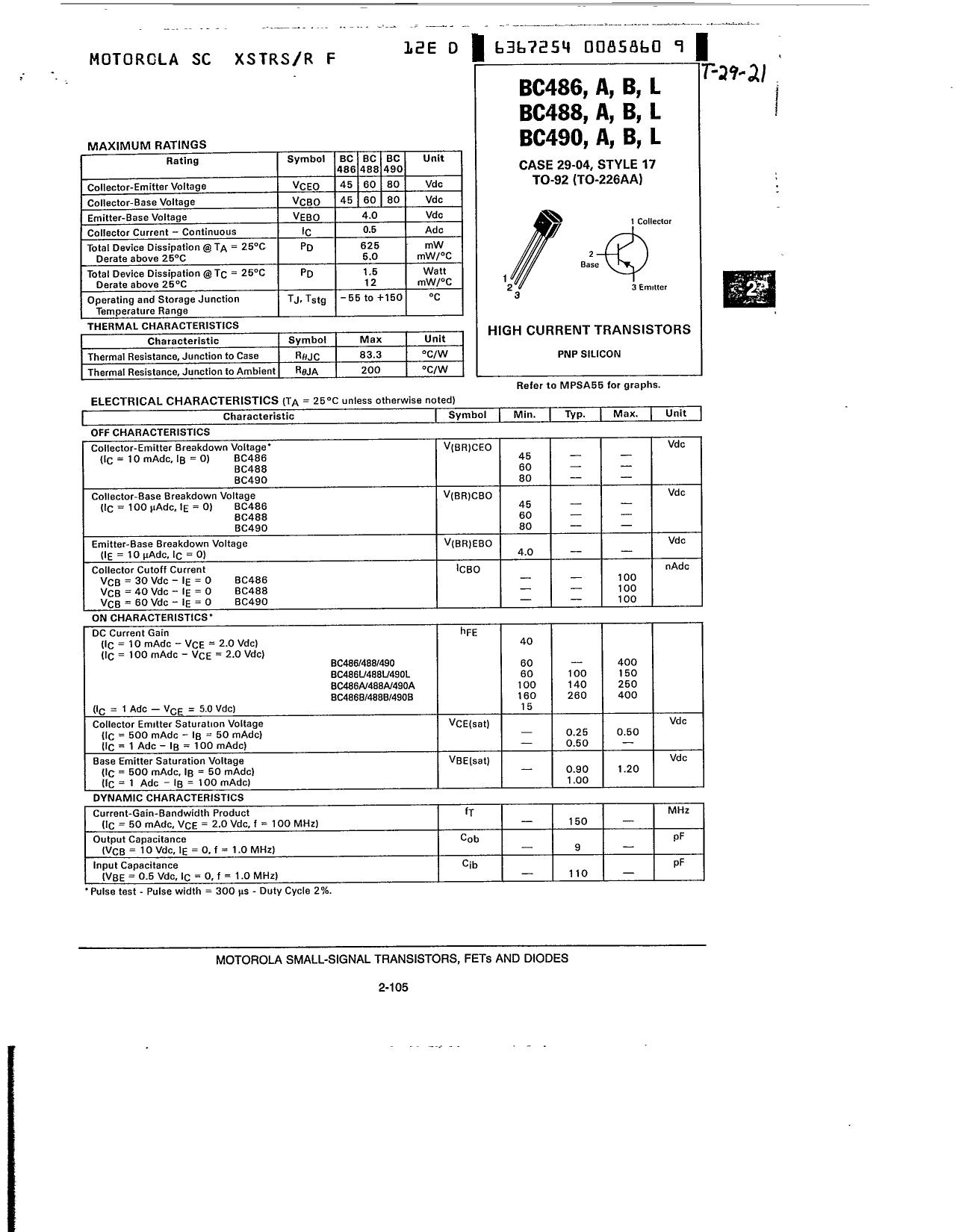 BC486B 데이터시트 및 BC486B PDF