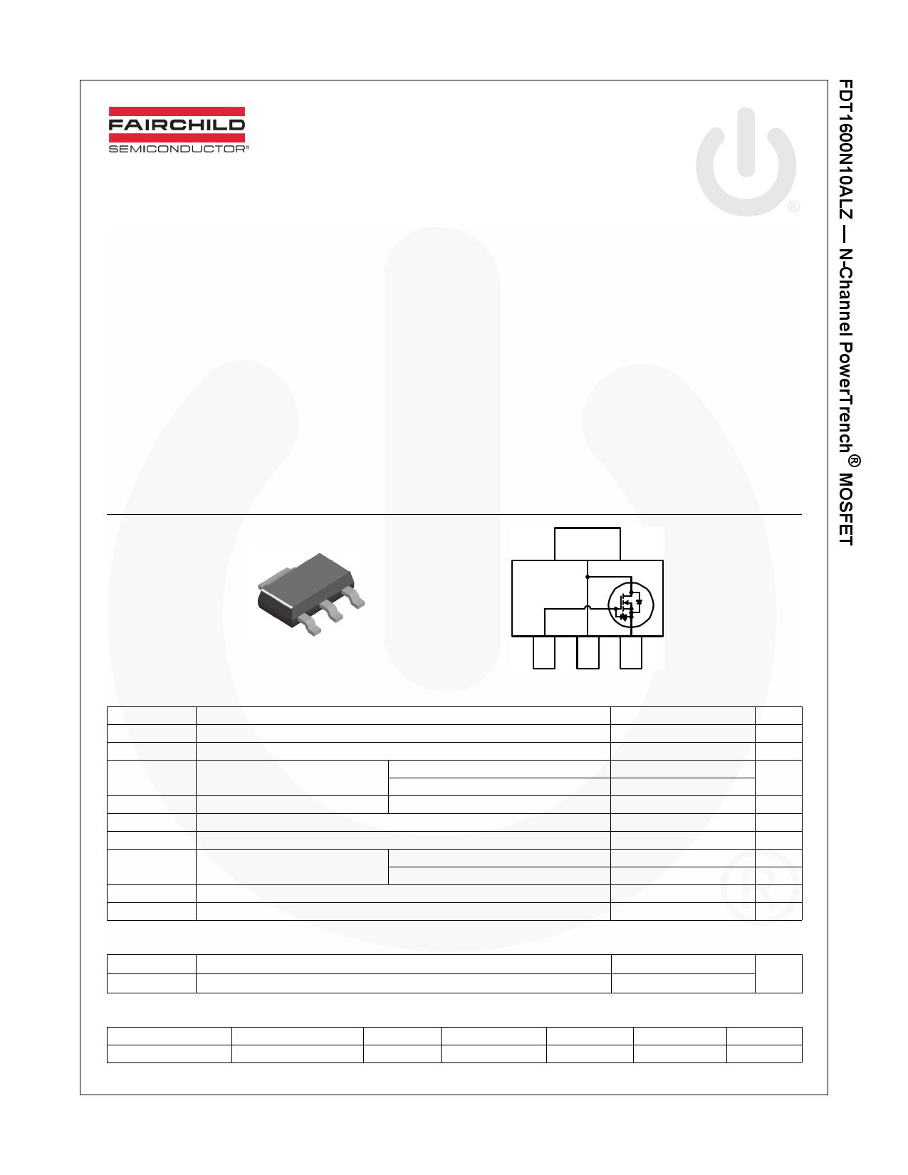 FDT1600N10ALZ 데이터시트 및 FDT1600N10ALZ PDF
