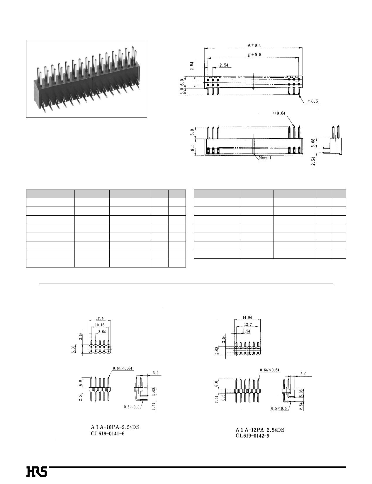 A1-10PA-2.54DSA pdf, ピン配列