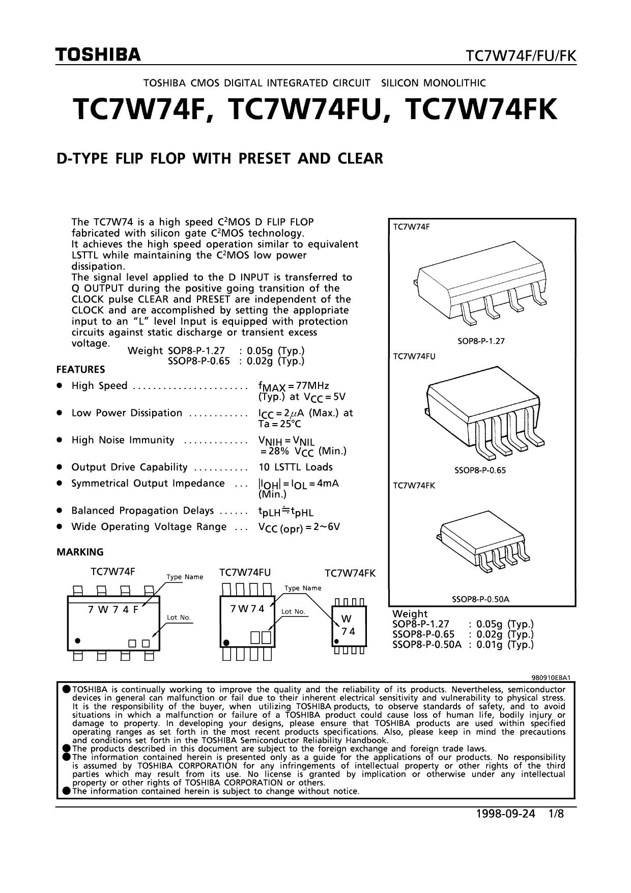 TC7W74F دیتاشیت PDF