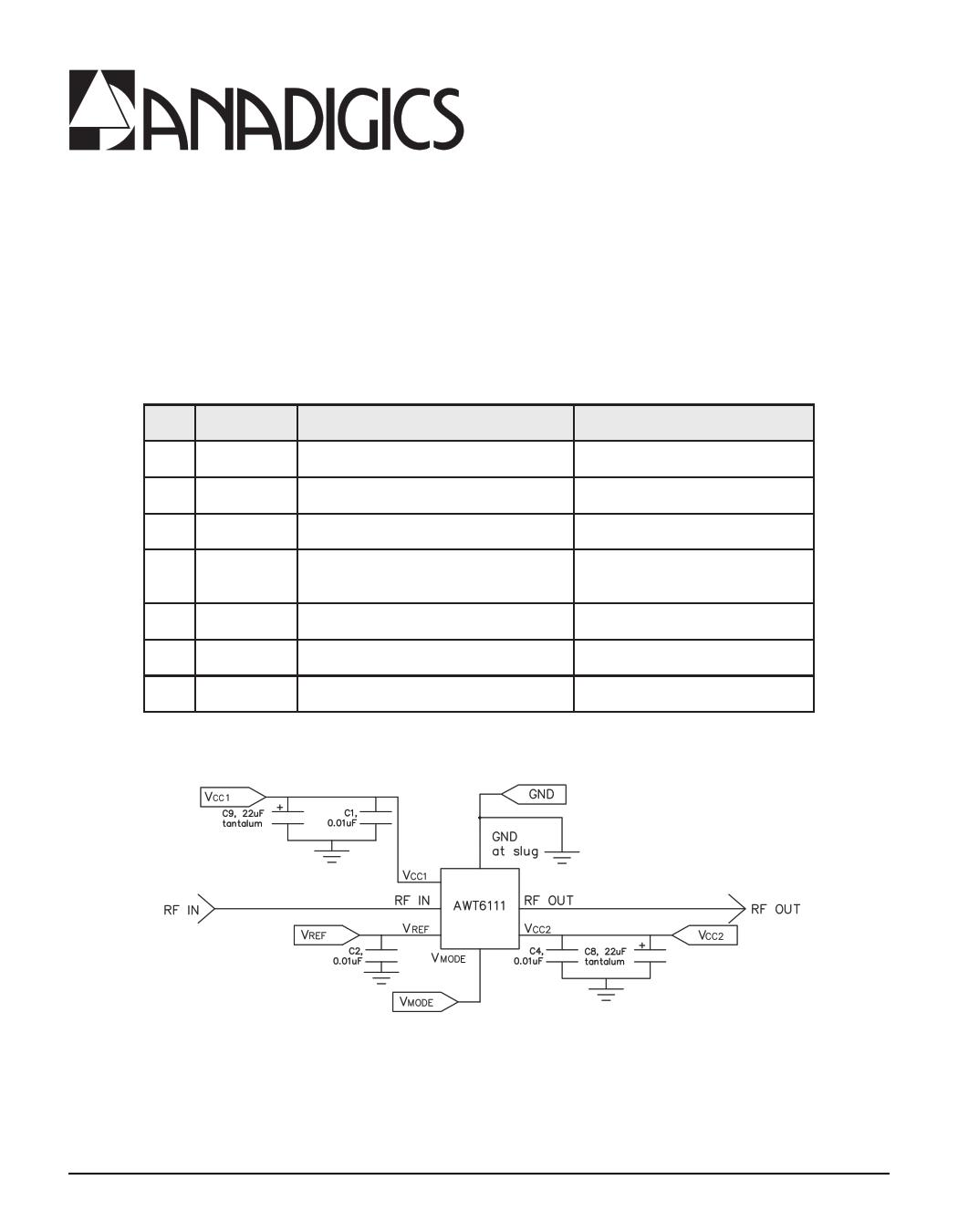 AWT6111 datasheet, circuit