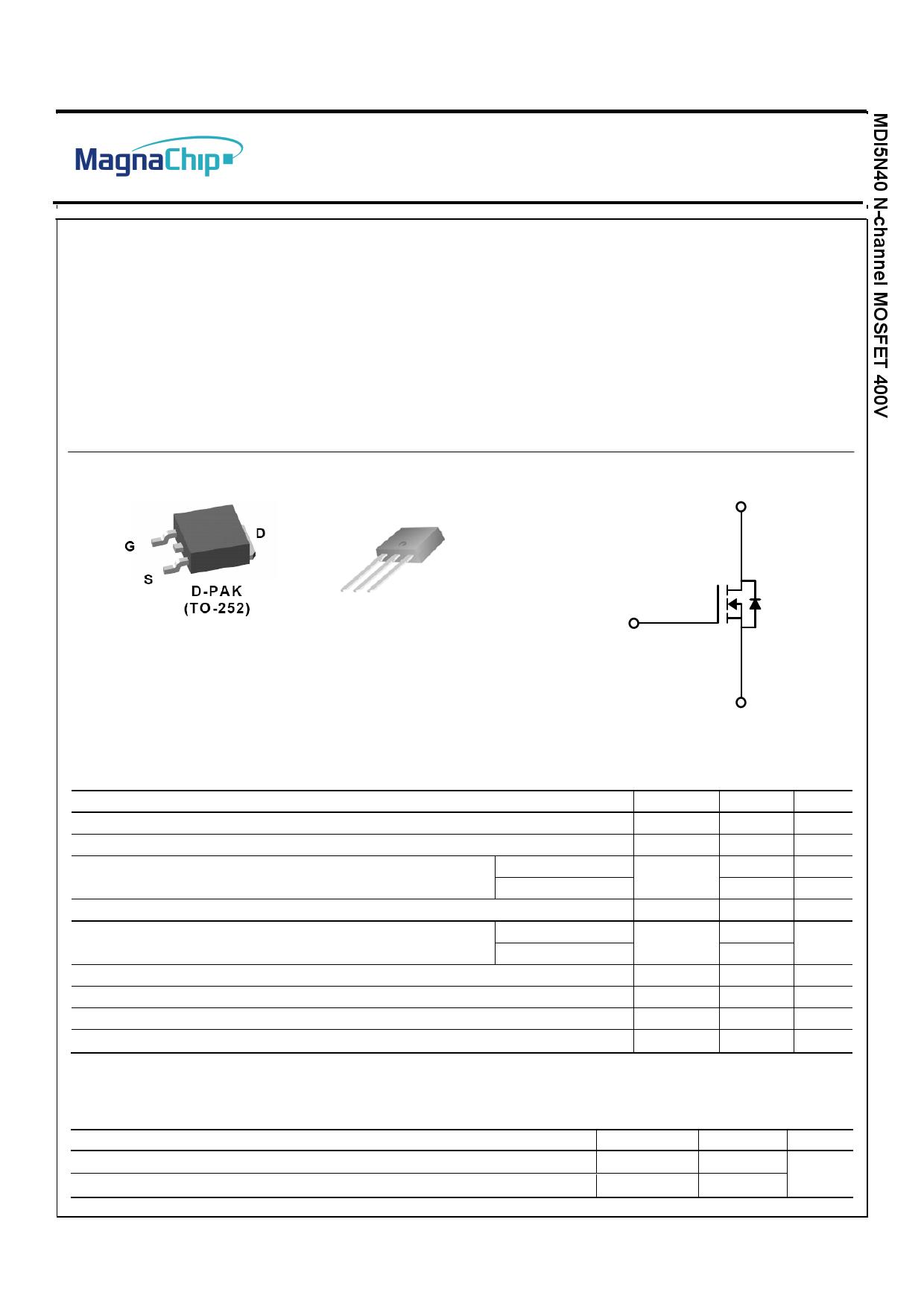 MDD5N40 Datasheet, MDD5N40 PDF,ピン配置, 機能