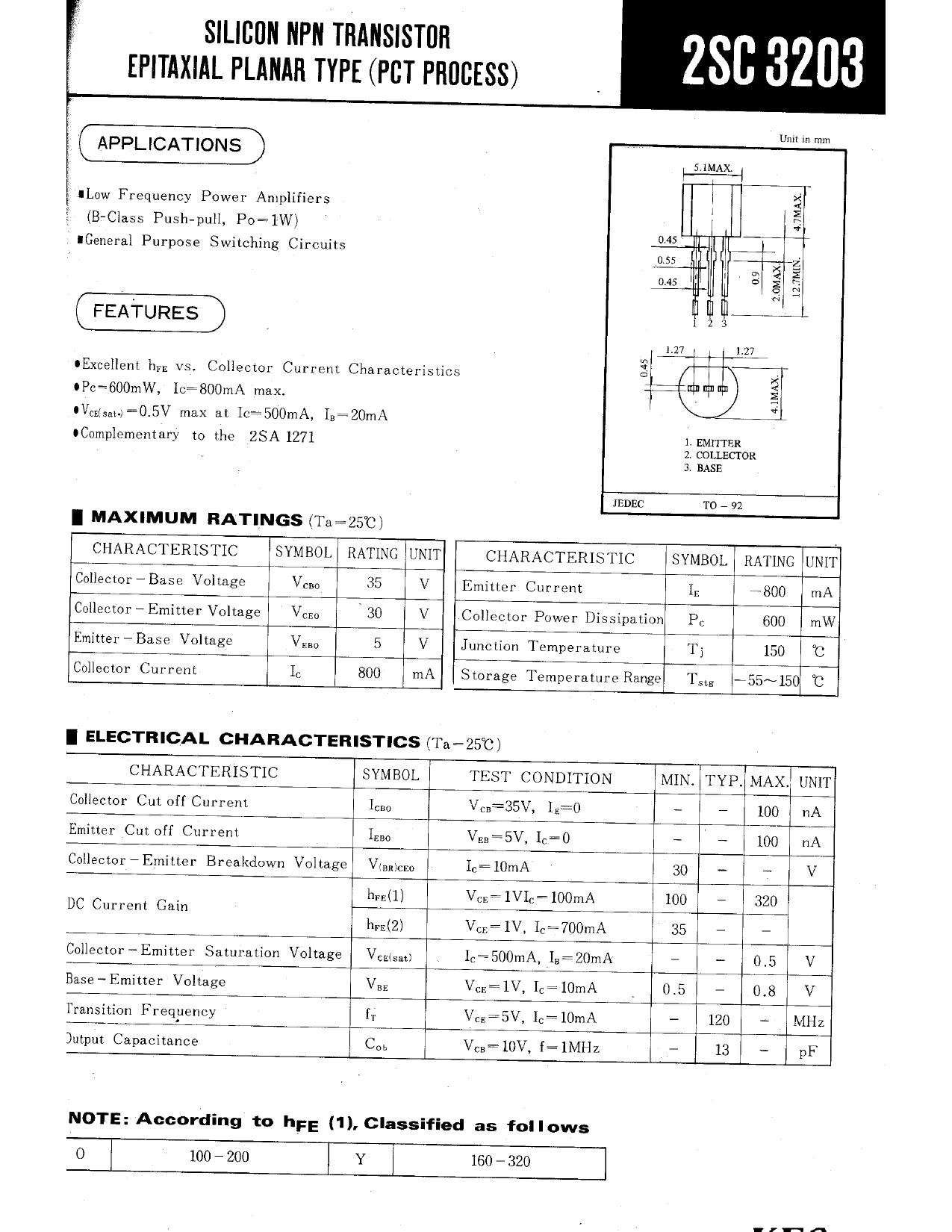 2SC3203 datasheet
