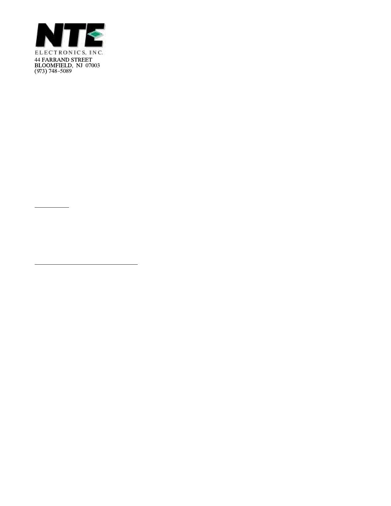 NTE56005 دیتاشیت PDF