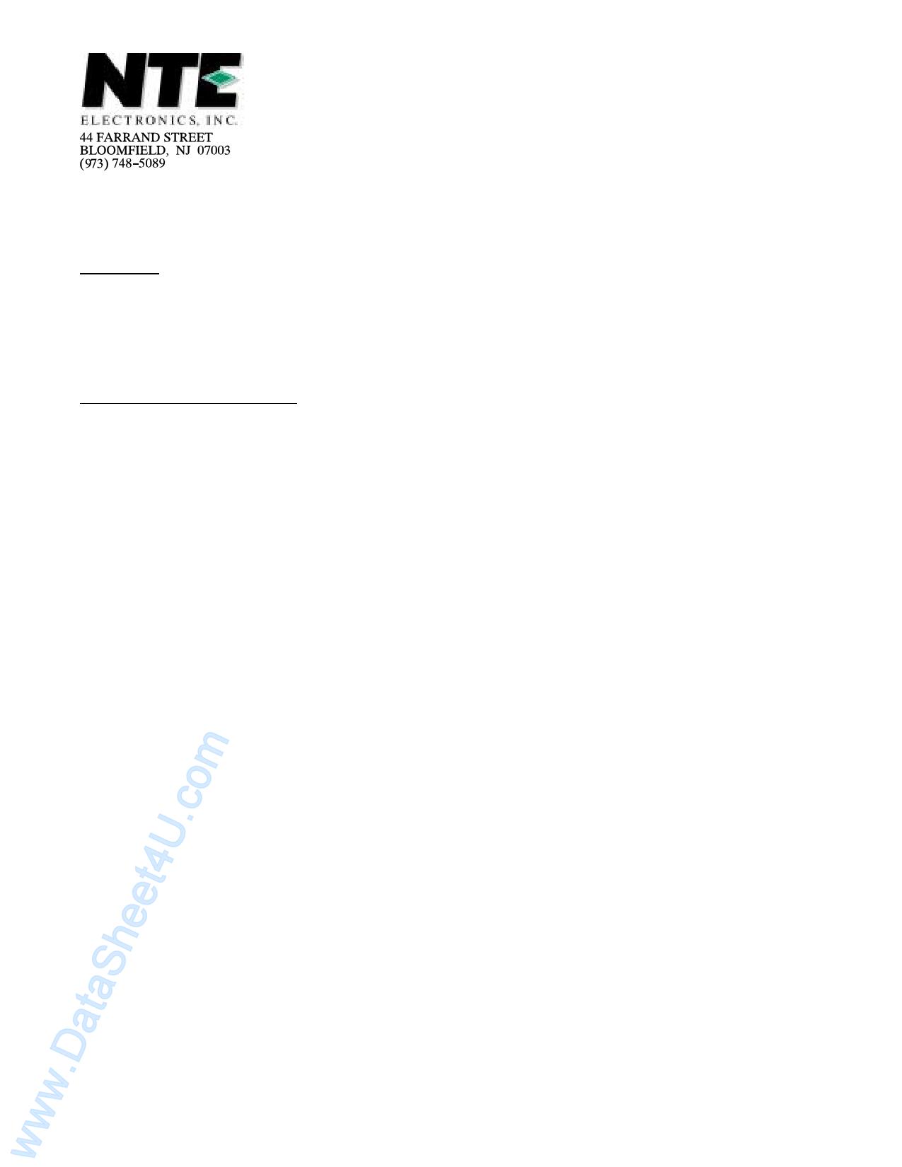 NTE5581 دیتاشیت PDF