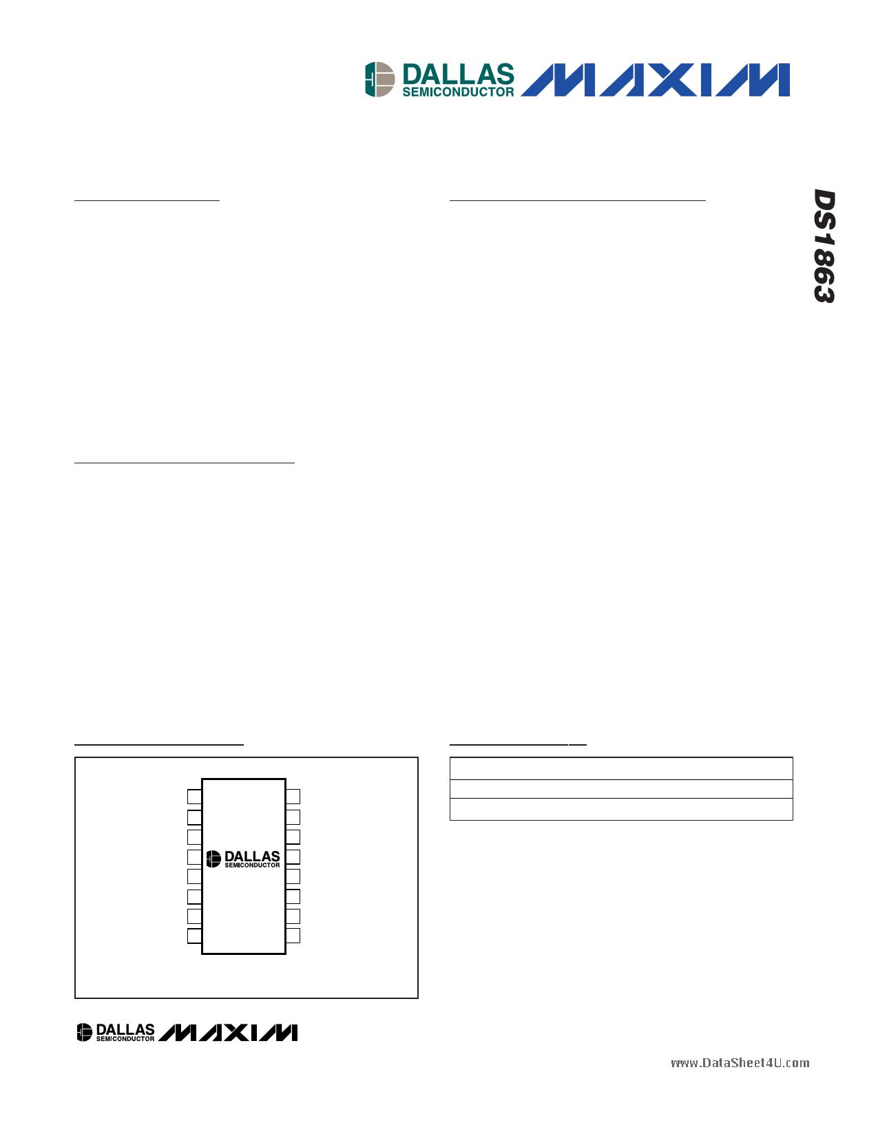 DS1863 دیتاشیت PDF