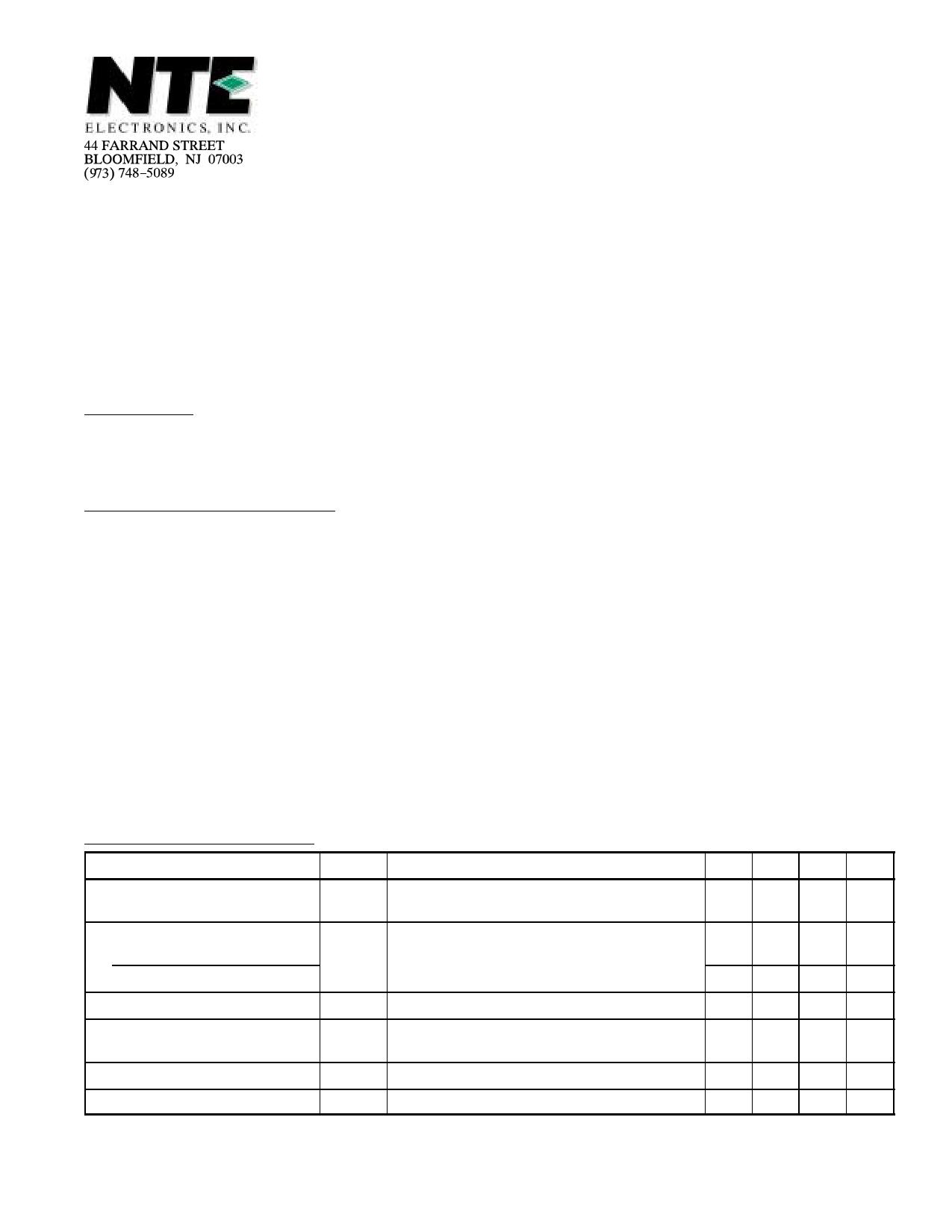 NTE56030 دیتاشیت PDF