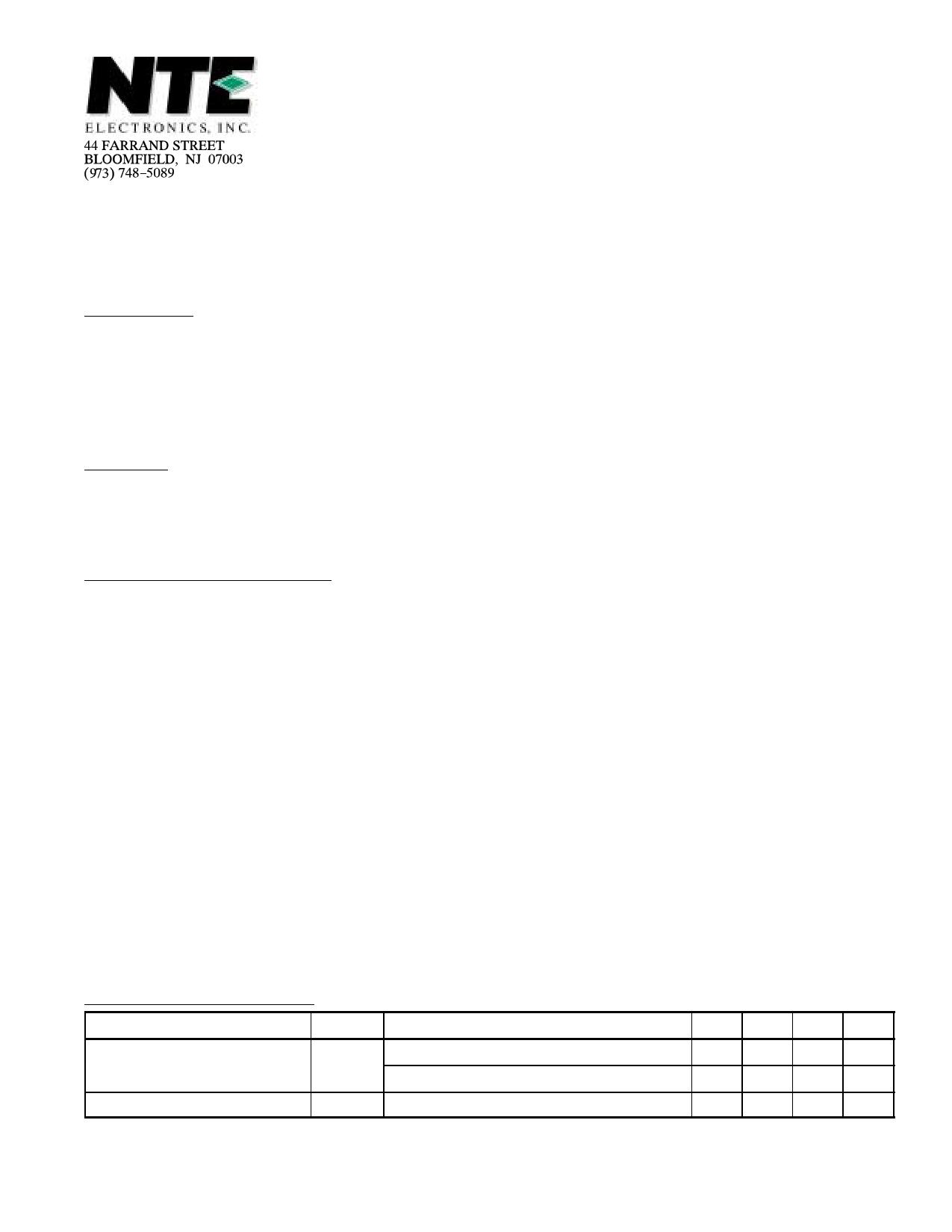 NTE56019 دیتاشیت PDF