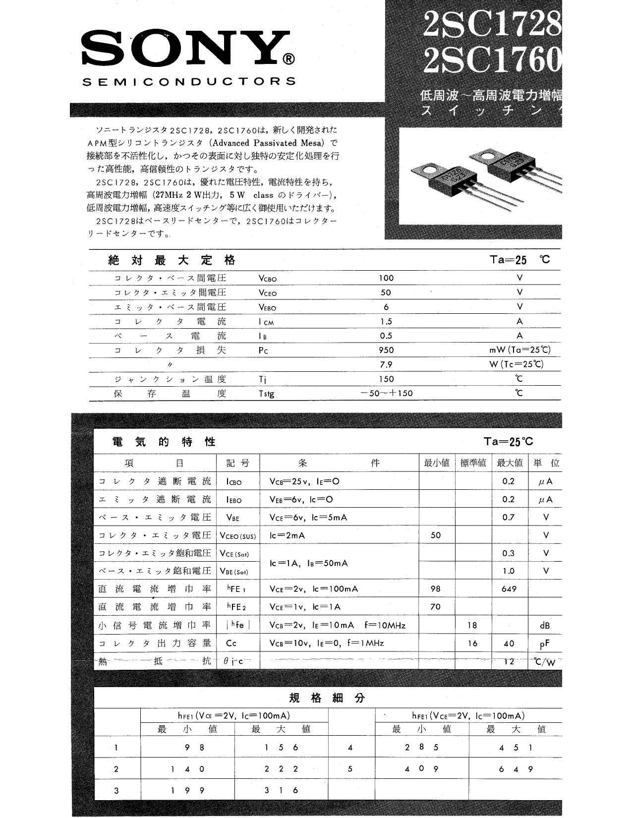 2SC1760 datasheet