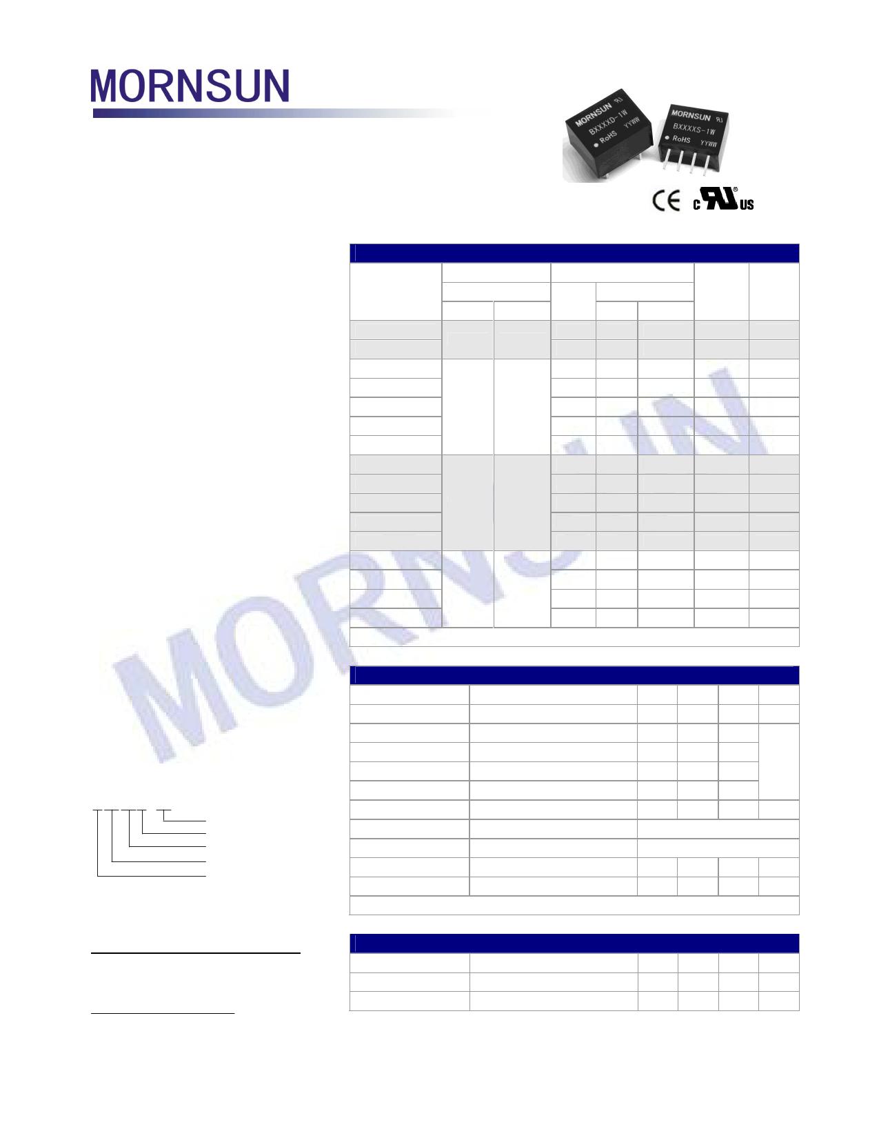 B0505S-1W 데이터시트 및 B0505S-1W PDF