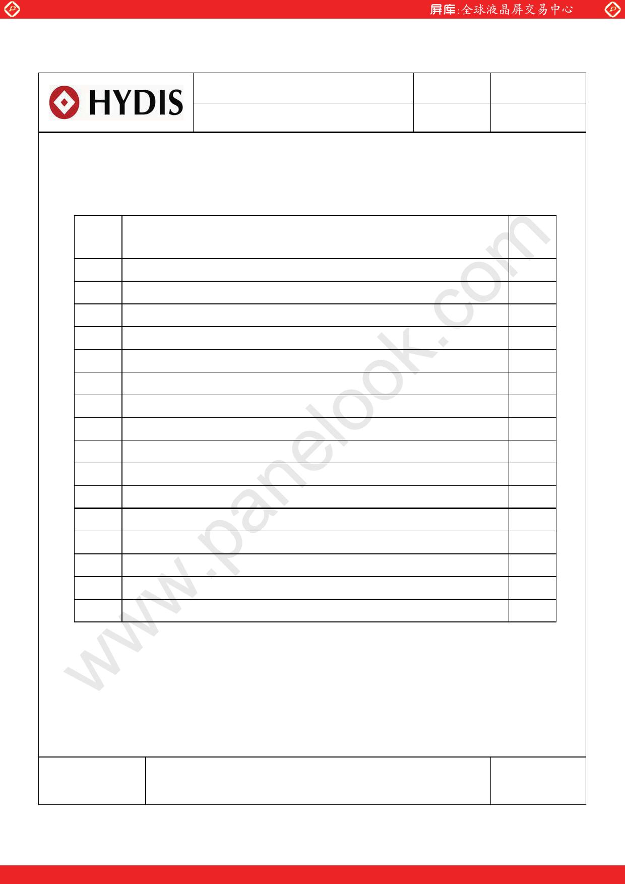 HV121WX5-110 pdf, ピン配列