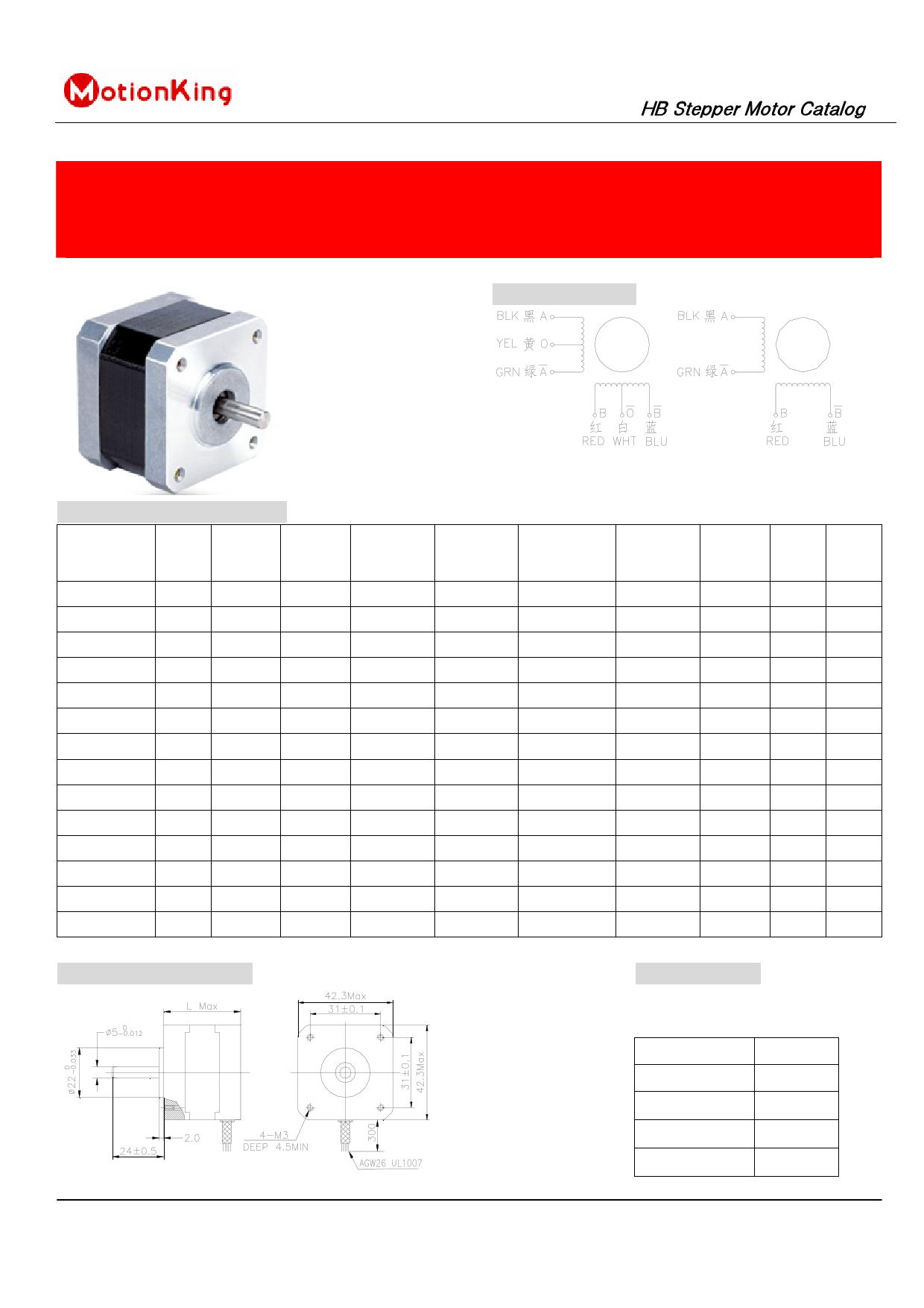 17hs2408 Pdf Datasheet 2 Phase Hybrid Stepper Motor