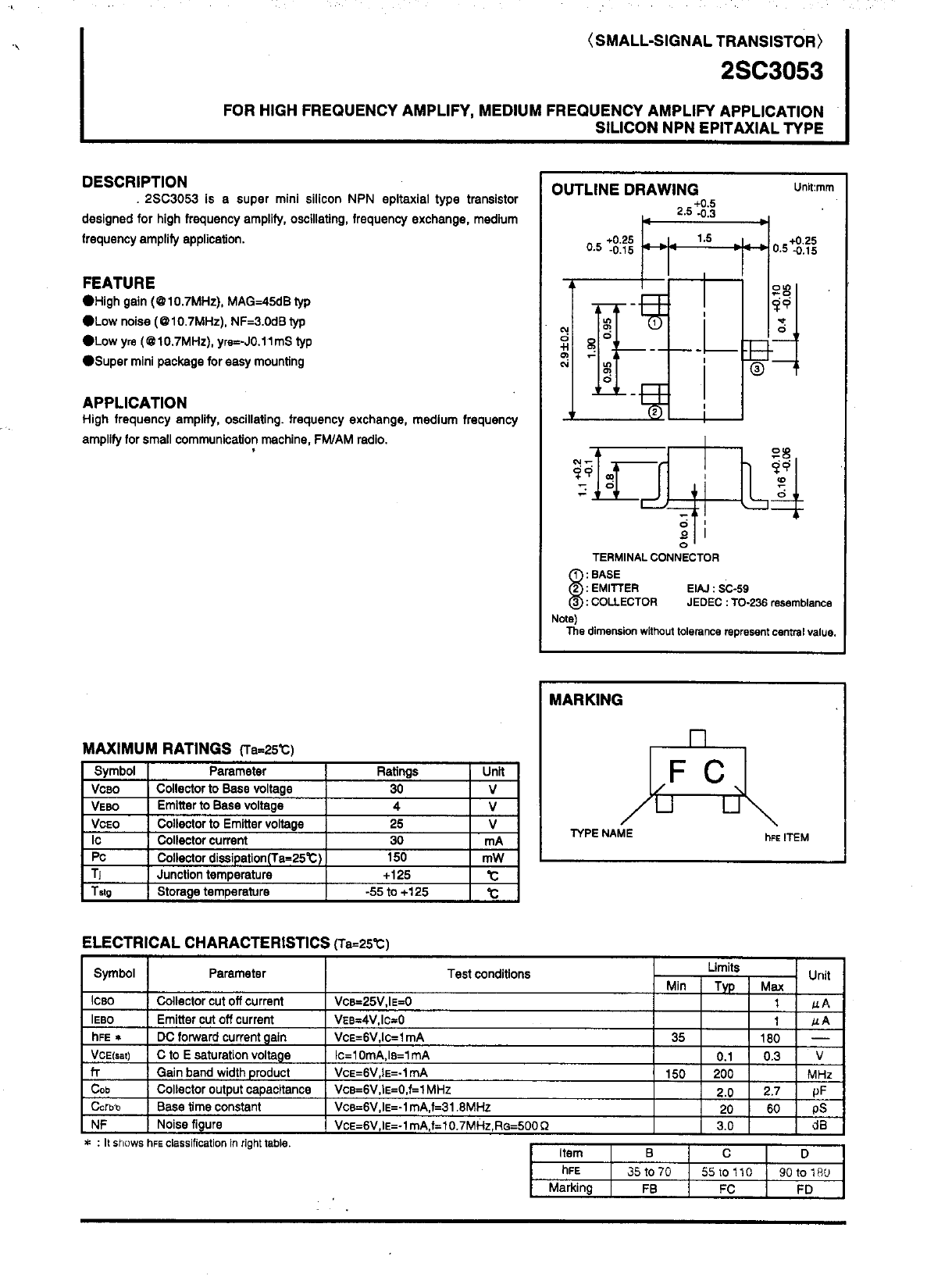 C3053 Datasheet, C3053 PDF,ピン配置, 機能