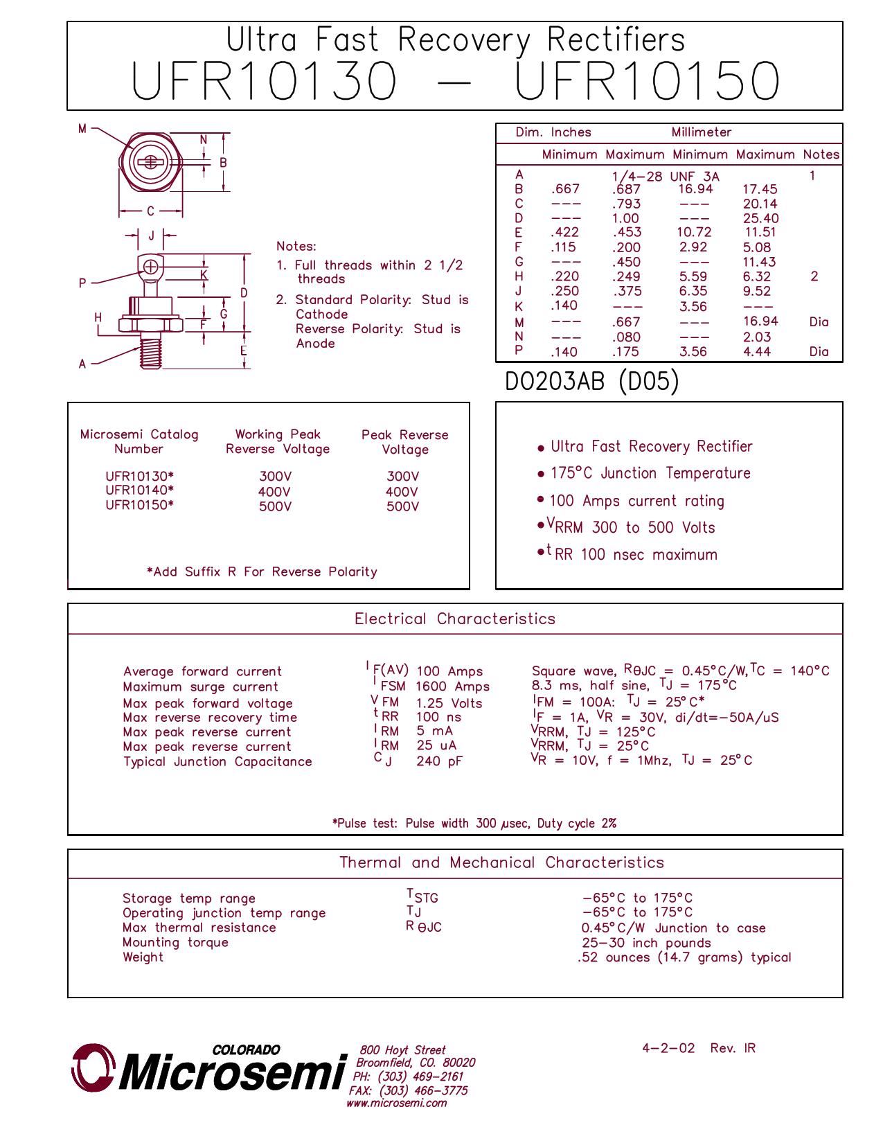 UFR10140 데이터시트 및 UFR10140 PDF
