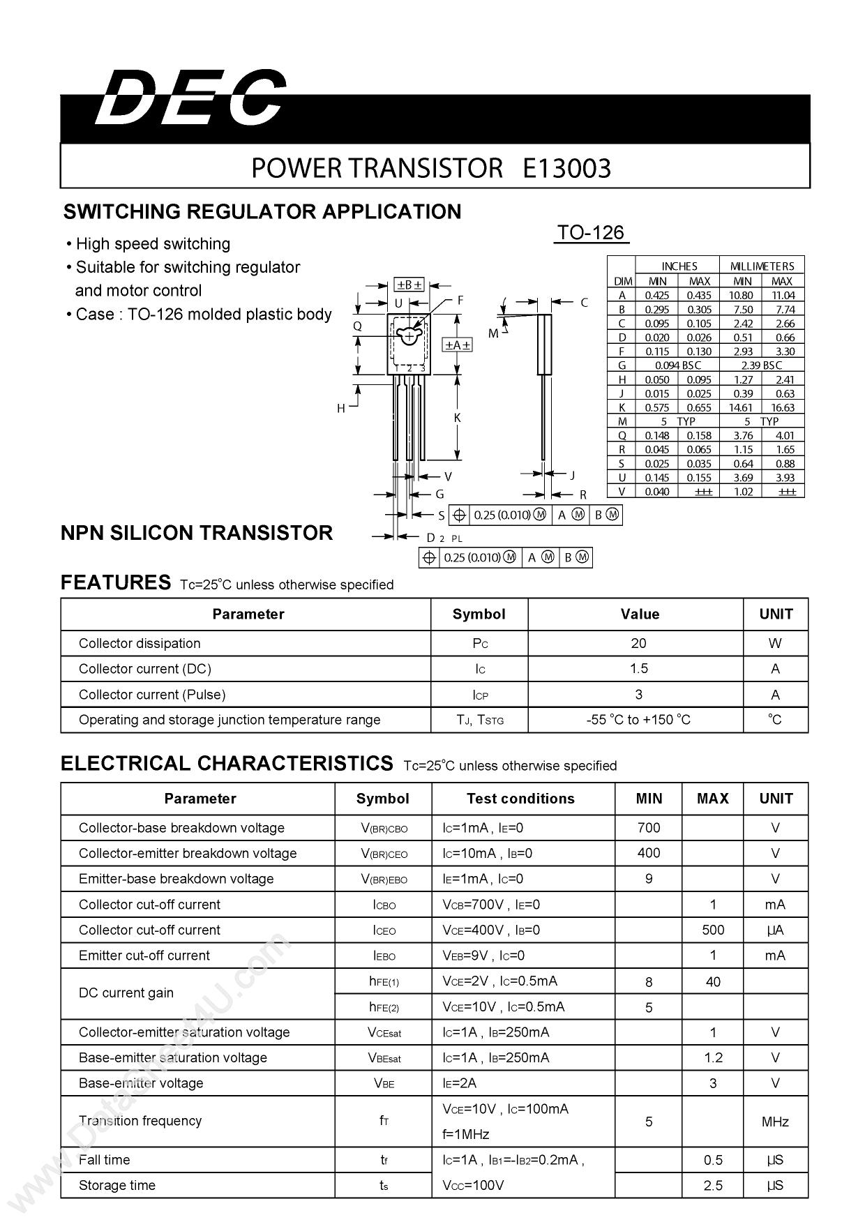E13003 دیتاشیت PDF