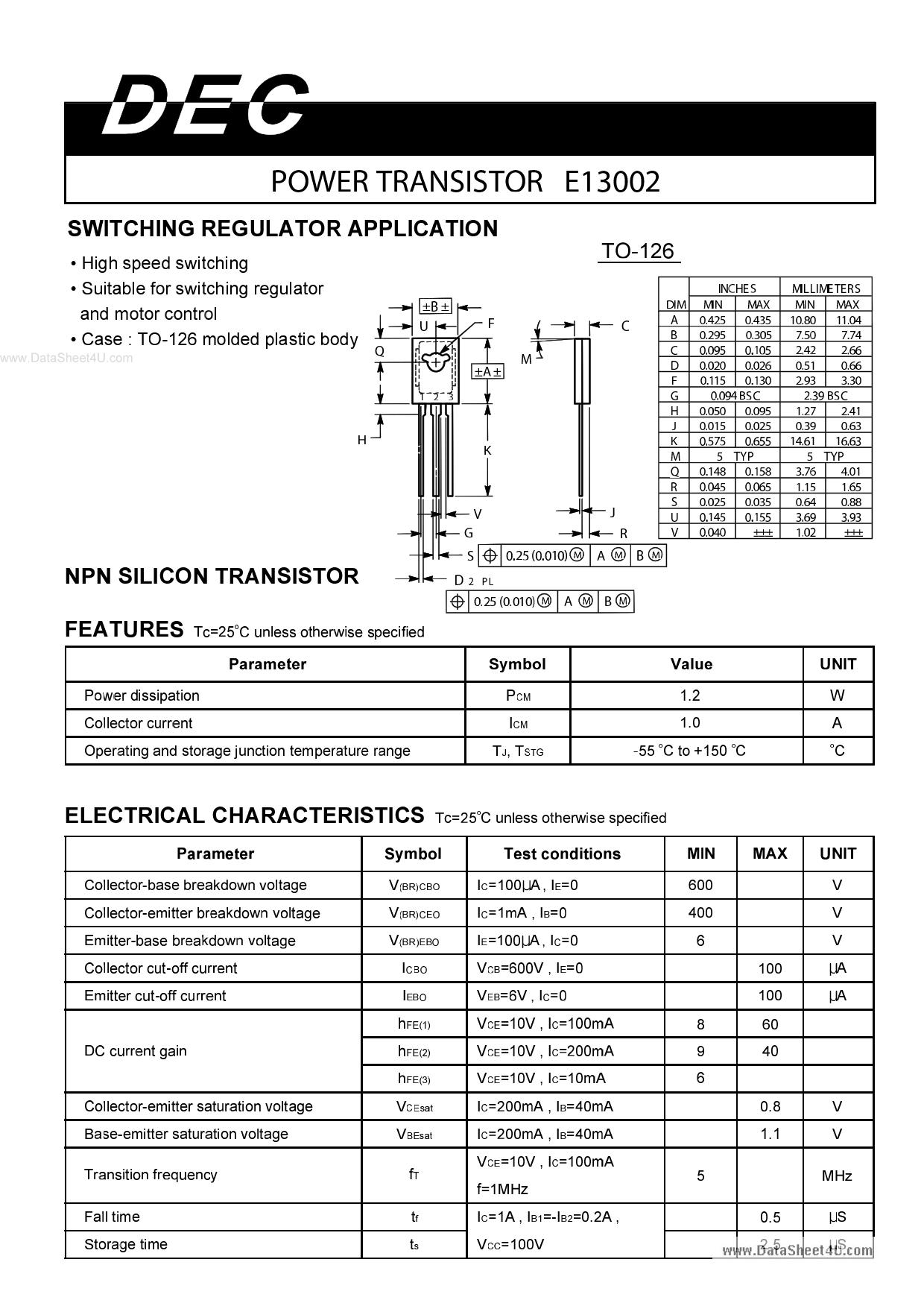 E13002 دیتاشیت PDF