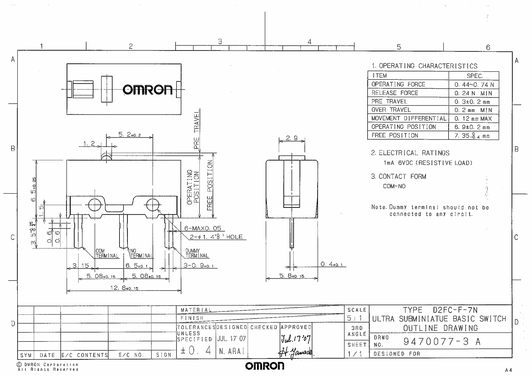 D2FC-F-7N Schematic ( PDF Datasheet ) - Omron