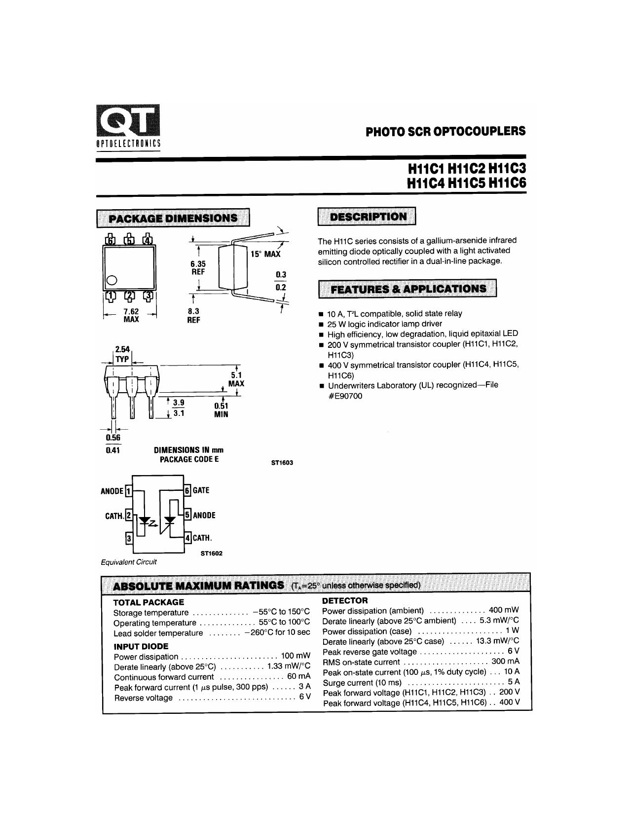 H11C2 데이터시트 및 H11C2 PDF