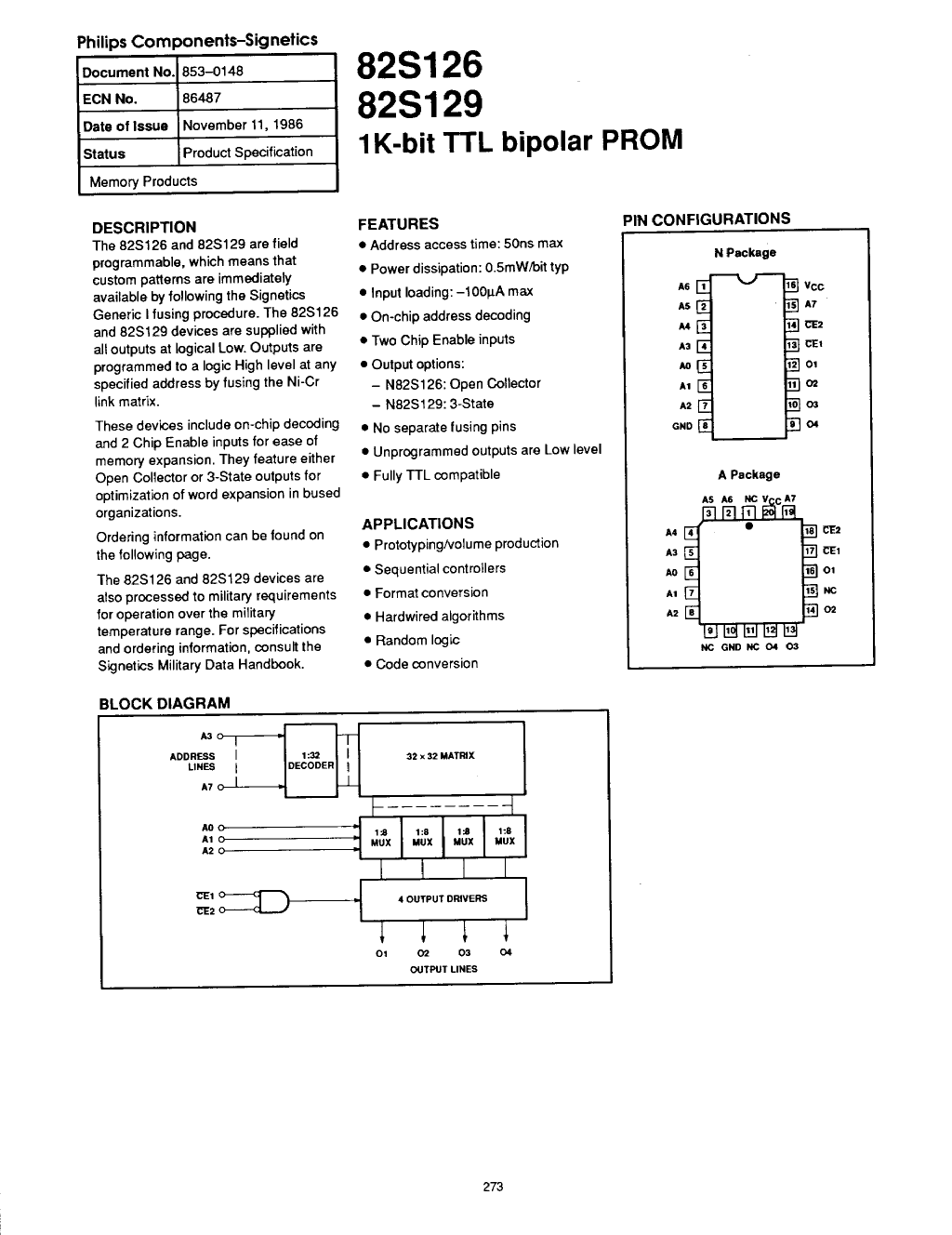 82S129 Datasheet, 82S129 PDF,ピン配置, 機能