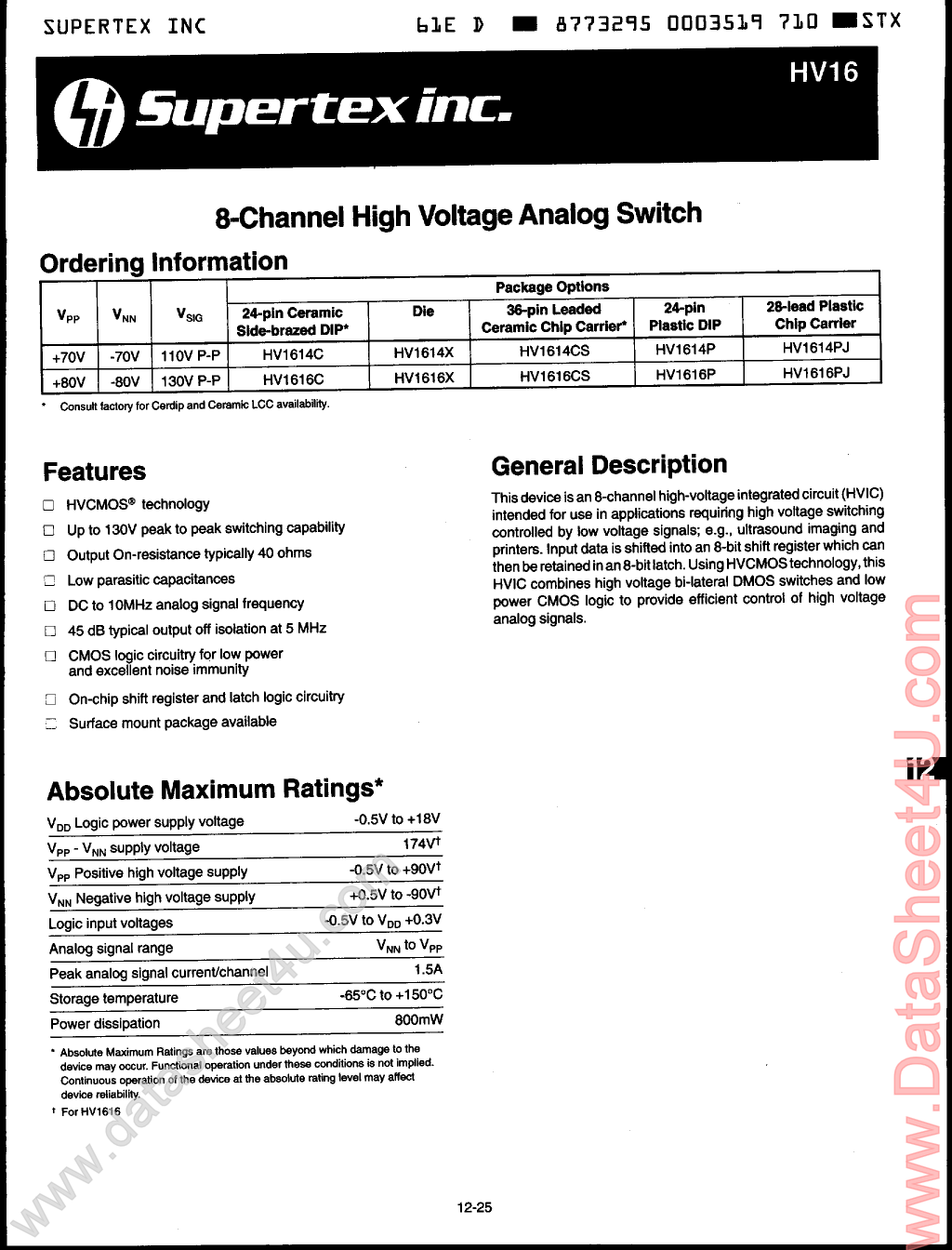 HV1614 Datasheet, HV1614 PDF,ピン配置, 機能