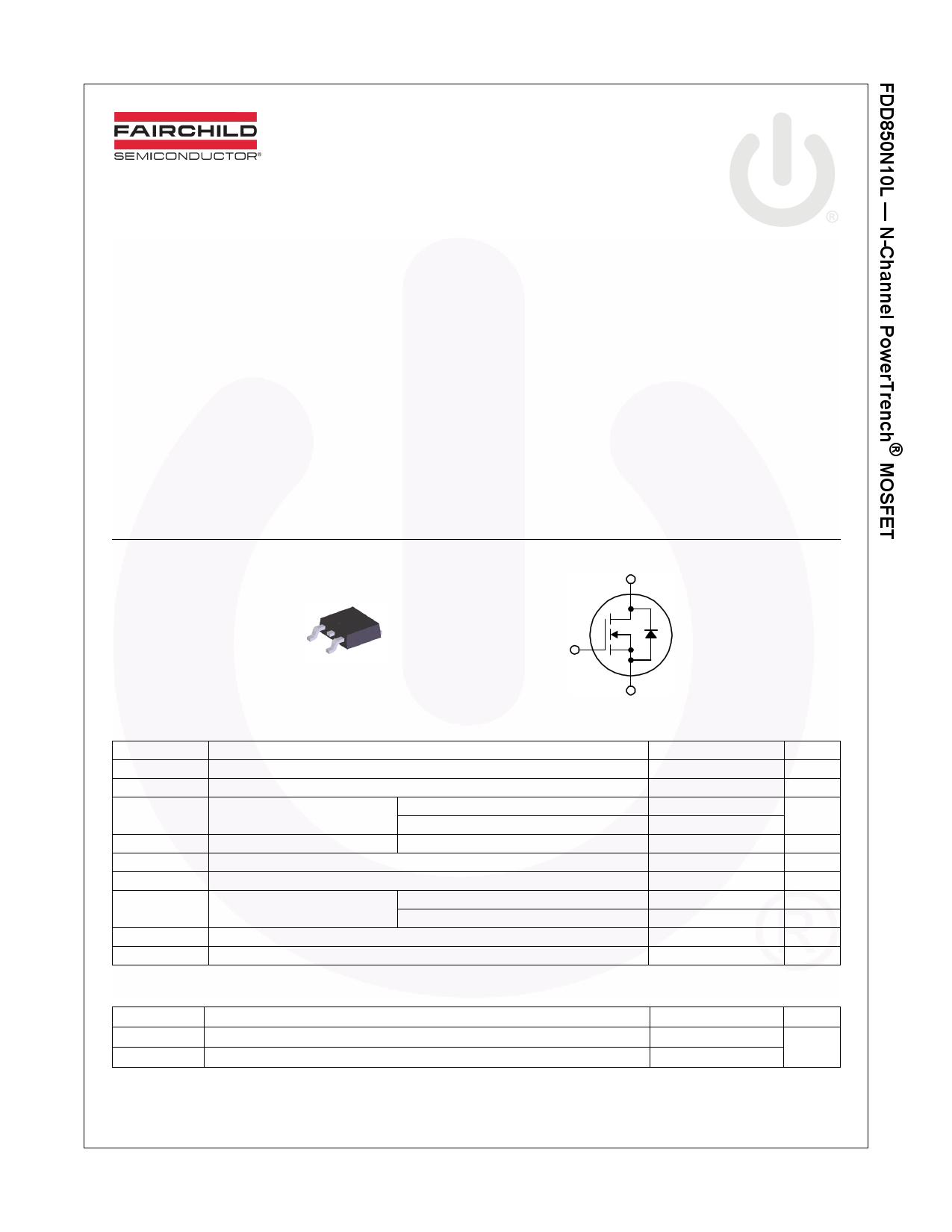 FDD850N10L 데이터시트 및 FDD850N10L PDF