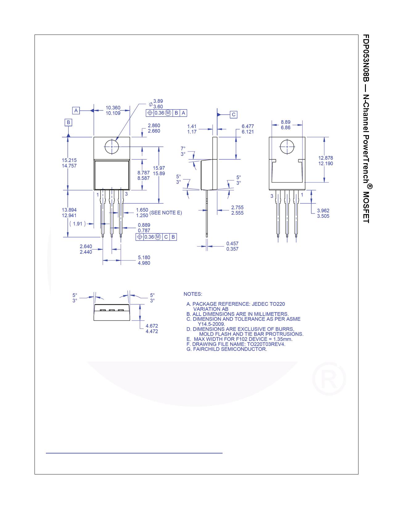 FDP053N08B transistor, diode fet, igbt, scr