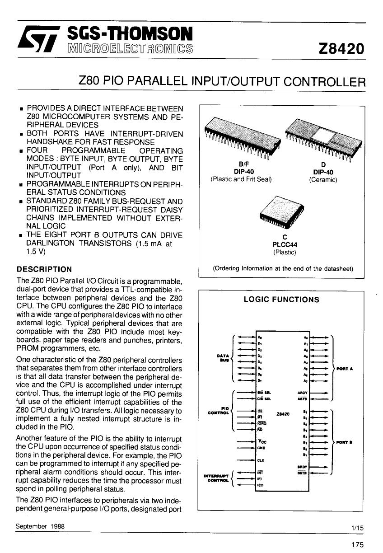 z8420ab1 datasheet pdf   pinout    output controller