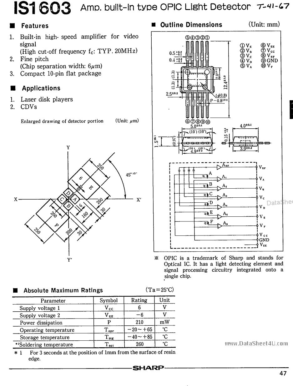 IS1603 Datasheet, IS1603 PDF,ピン配置, 機能