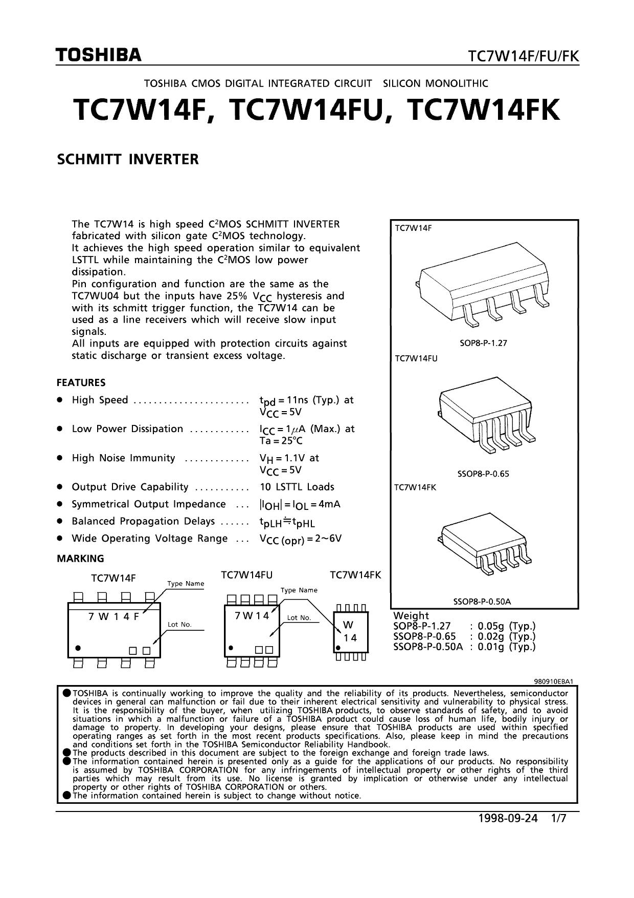 TC7W14FK دیتاشیت PDF