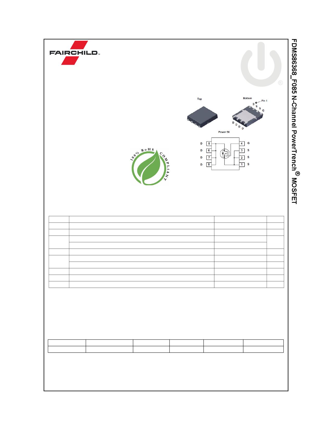 FDMS86368_F085 Datasheet, FDMS86368_F085 PDF,ピン配置, 機能