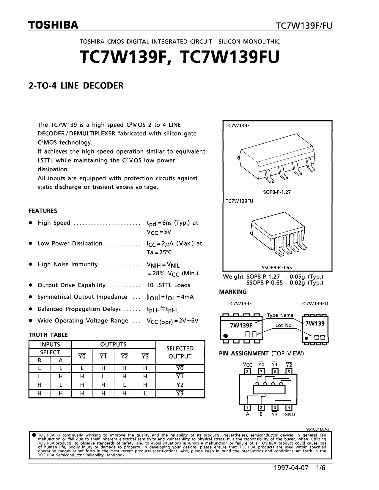TC7W139FU دیتاشیت PDF