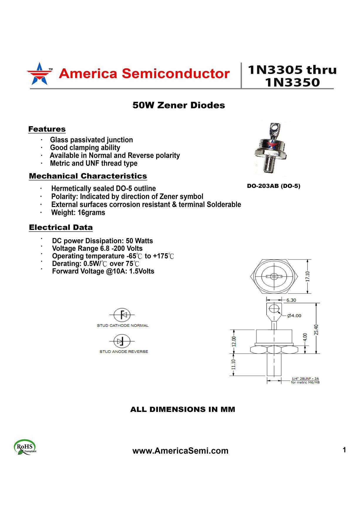 1N3347 دیتاشیت PDF