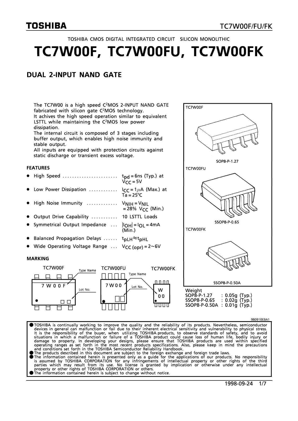 TC7W00FK دیتاشیت PDF
