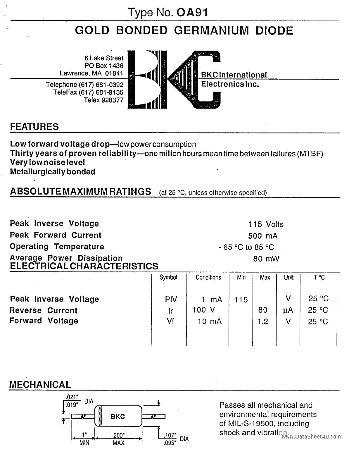 OA91 دیتاشیت PDF