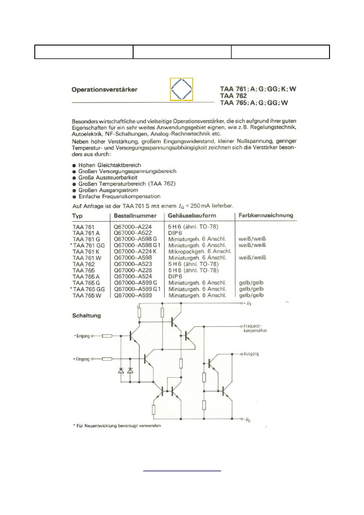 TAA761W Datenblatt PDF