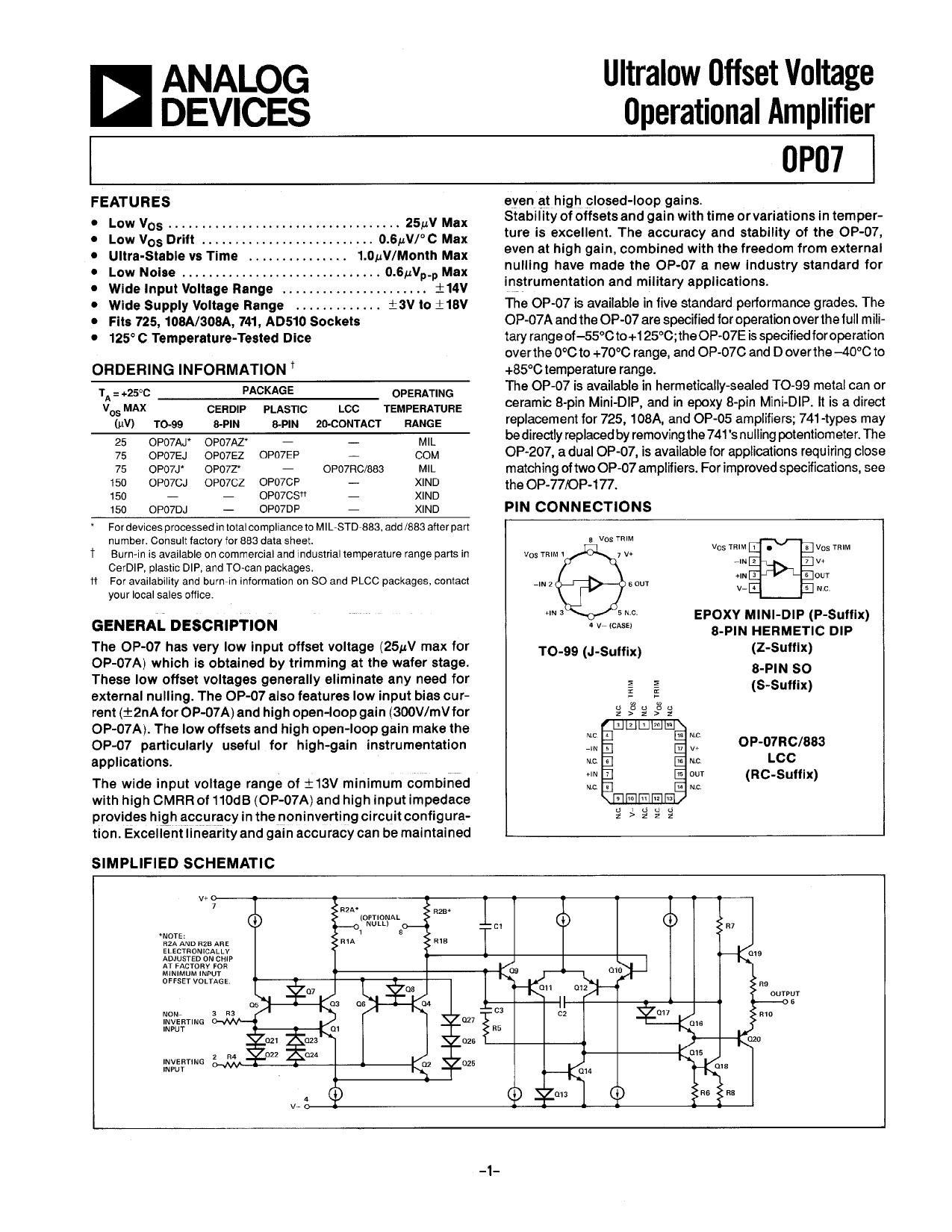 op07 datasheet pdf   pinout