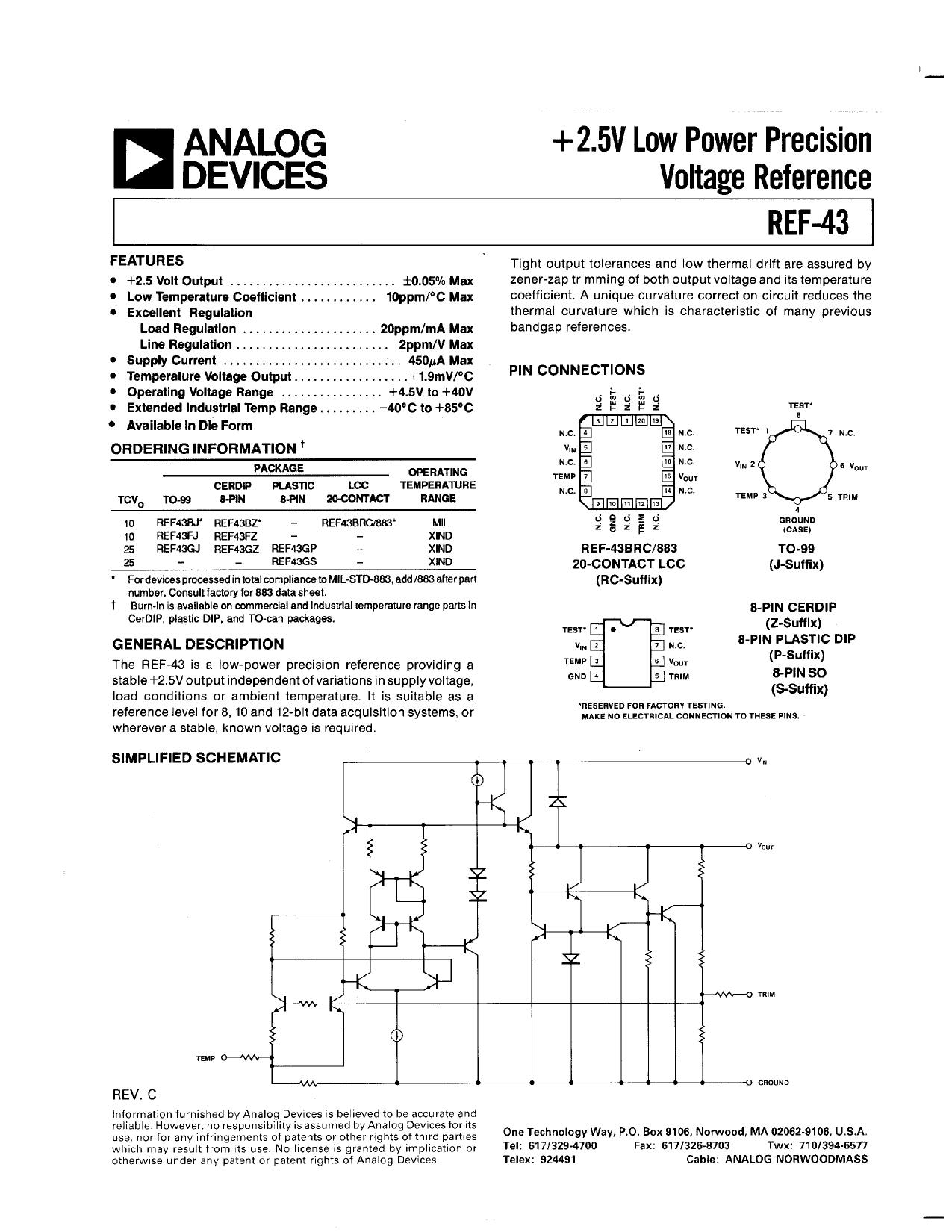ref-43 datasheet pdf   pinout
