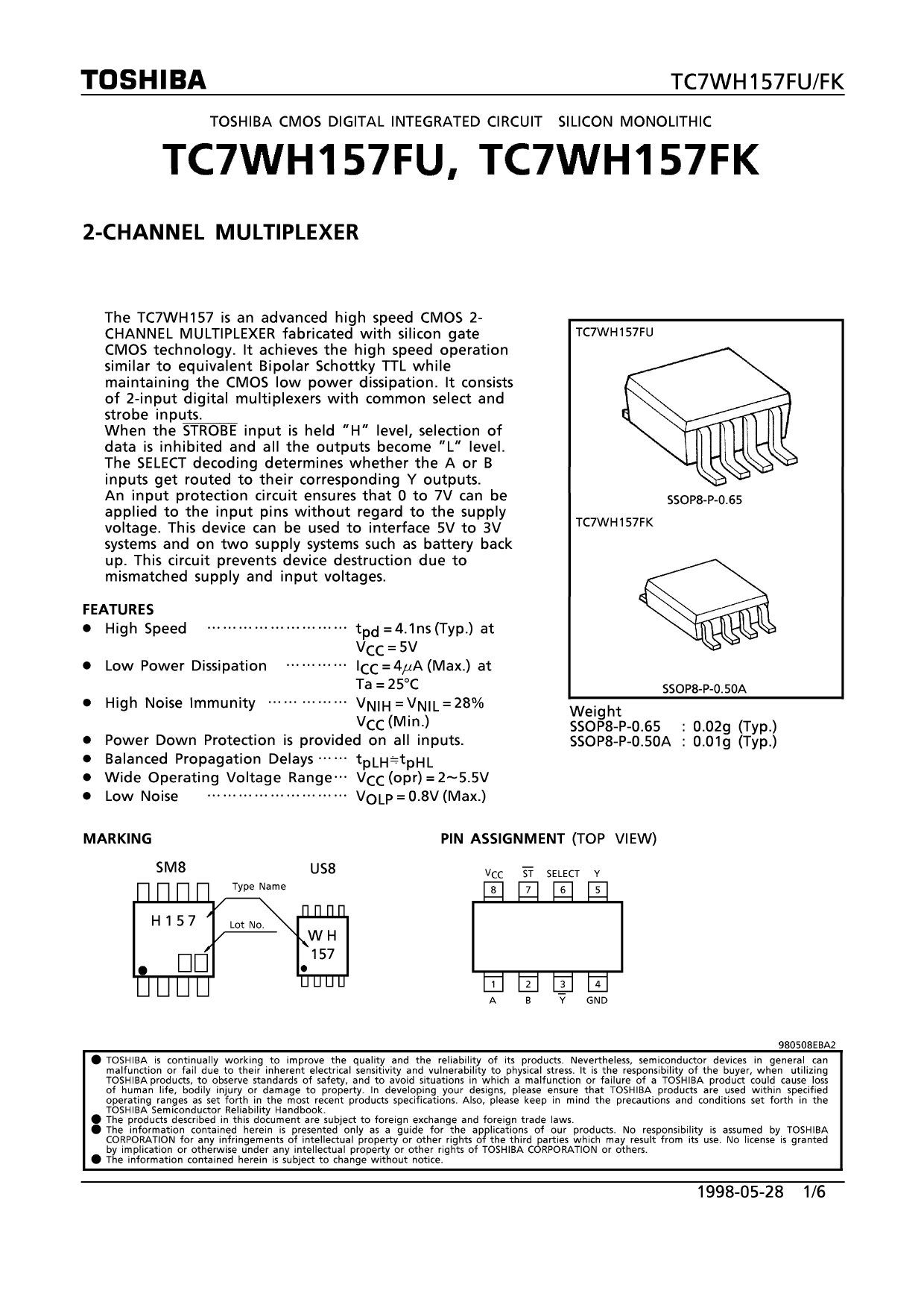TC7WH157FK دیتاشیت PDF