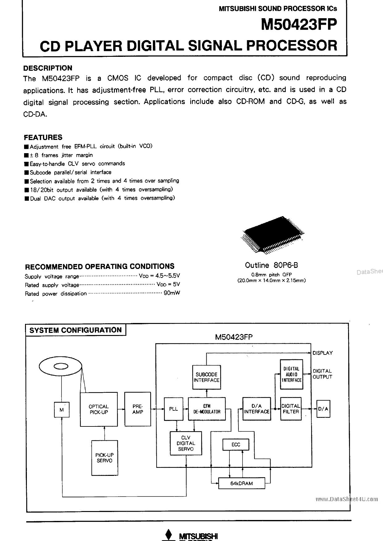 M50423FP دیتاشیت PDF