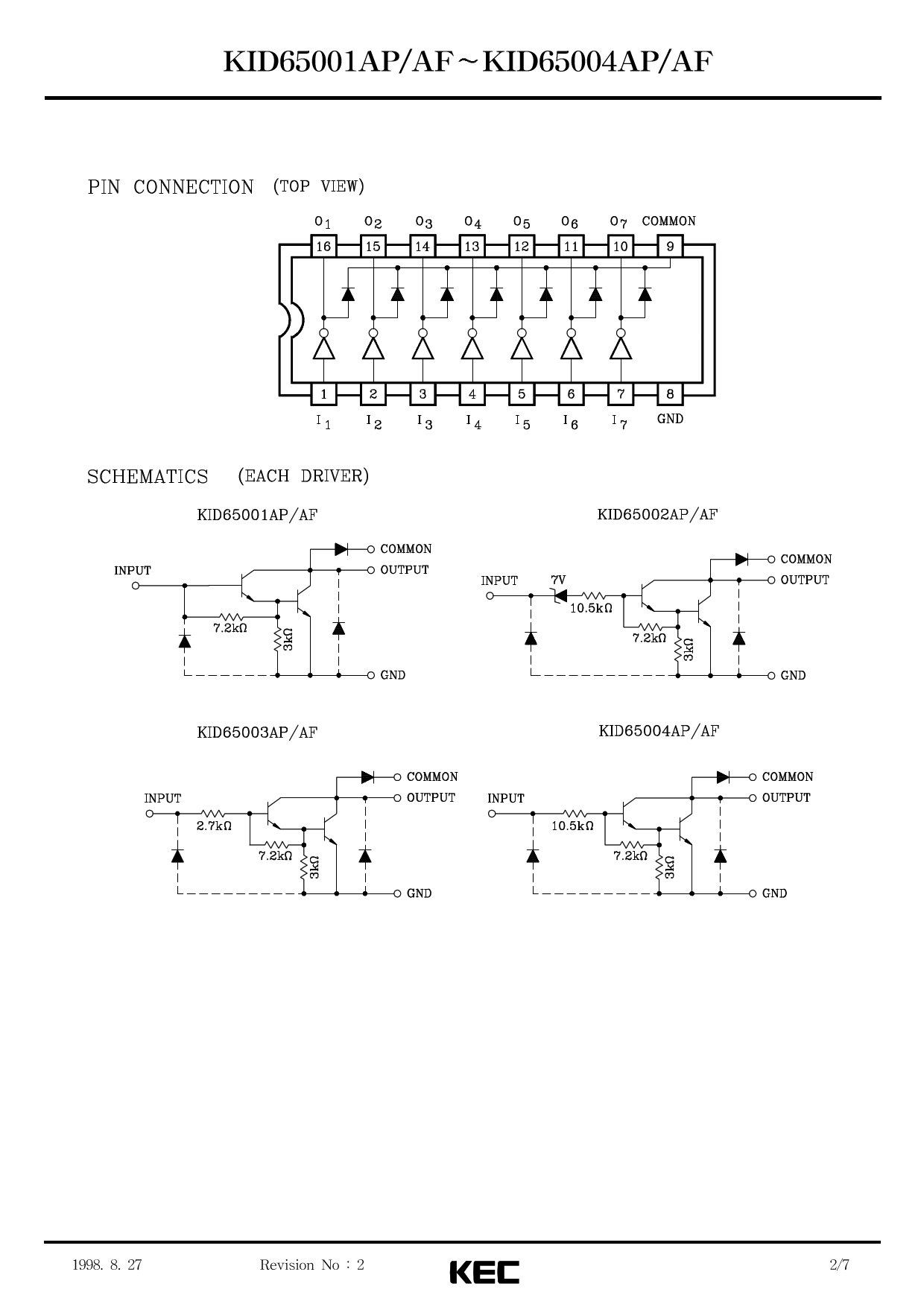 Kid65003ap Datasheet 7 Circuit Darlington Transistor