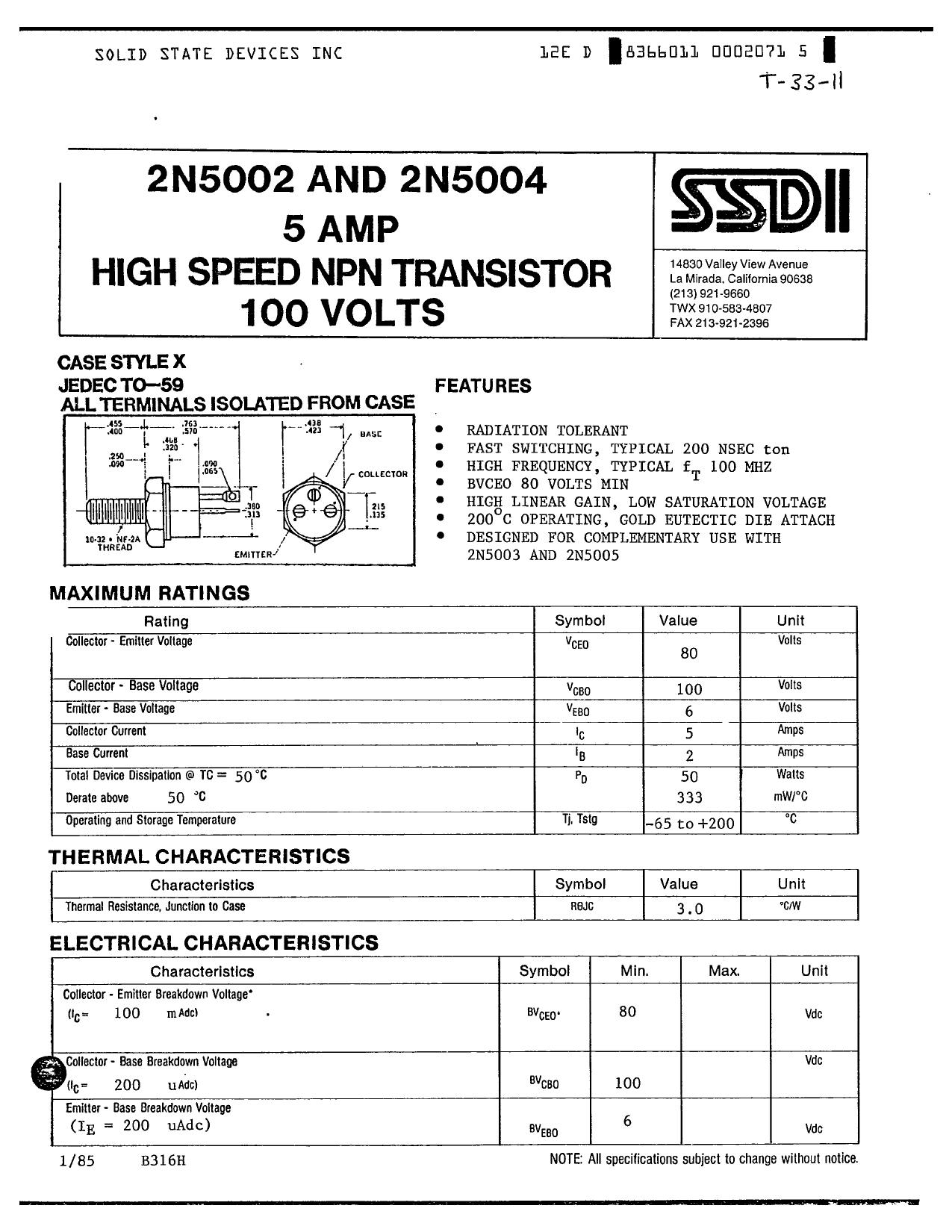 2N5002 دیتاشیت PDF