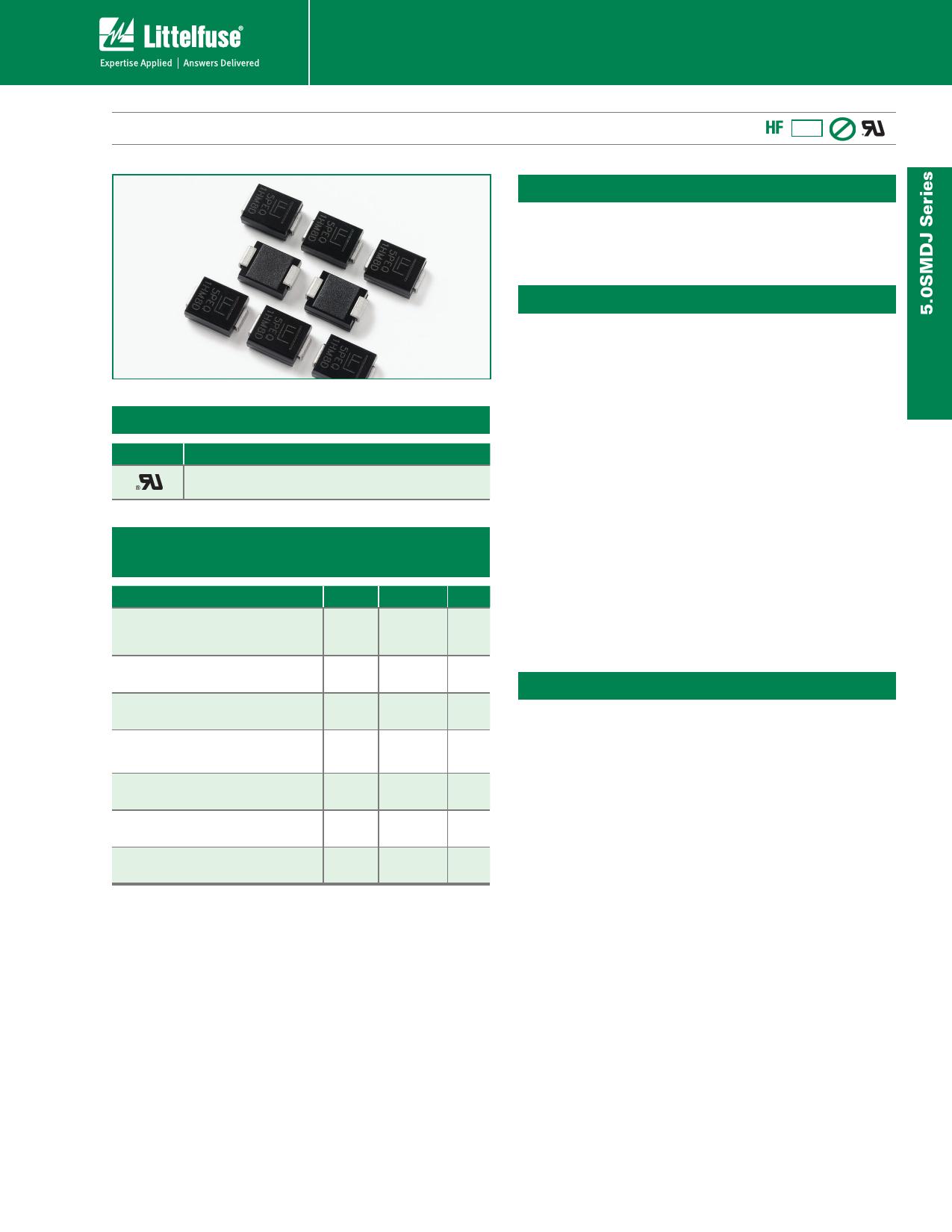 5.0SMDJ40A دیتاشیت PDF