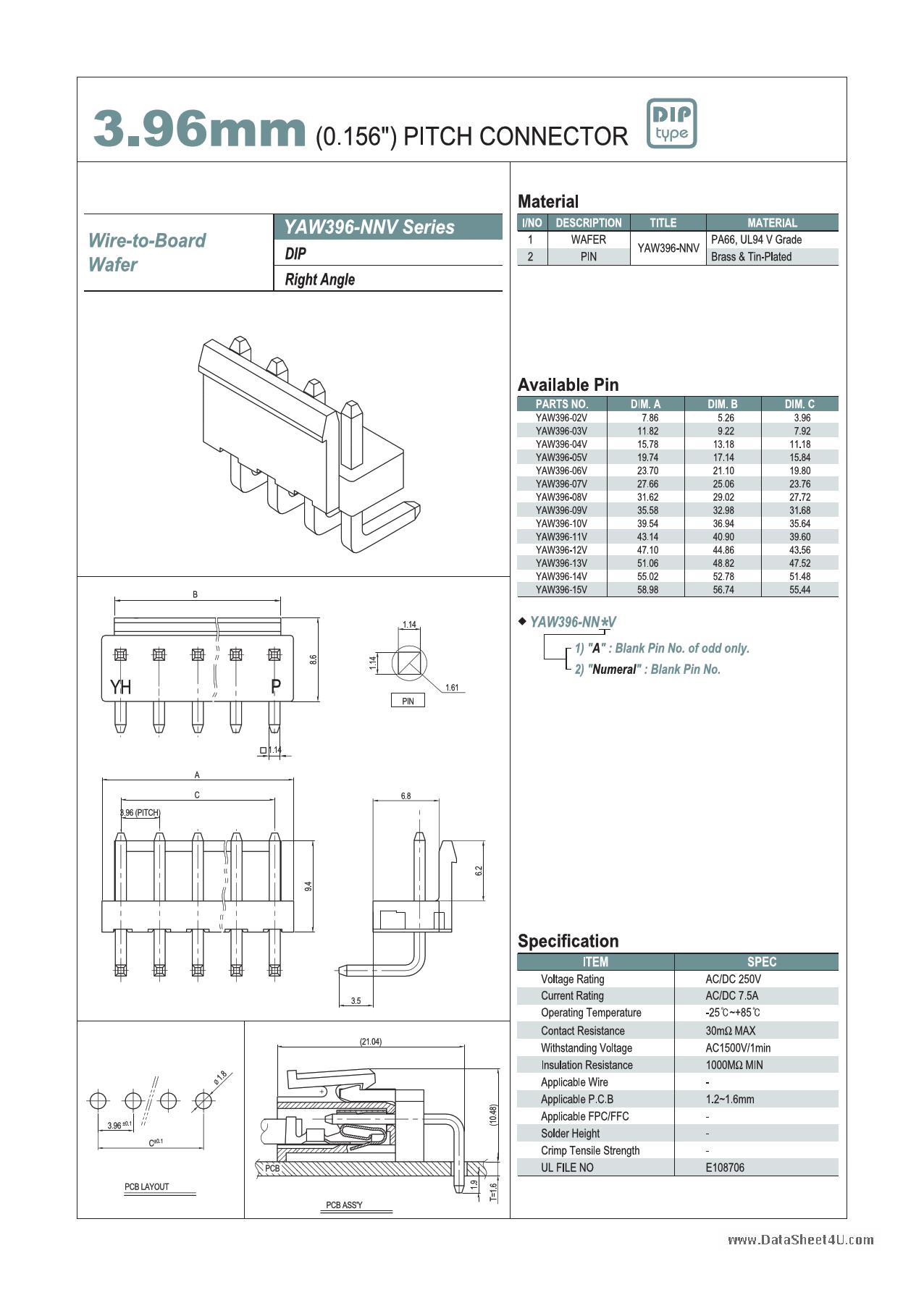 YAW396 دیتاشیت PDF