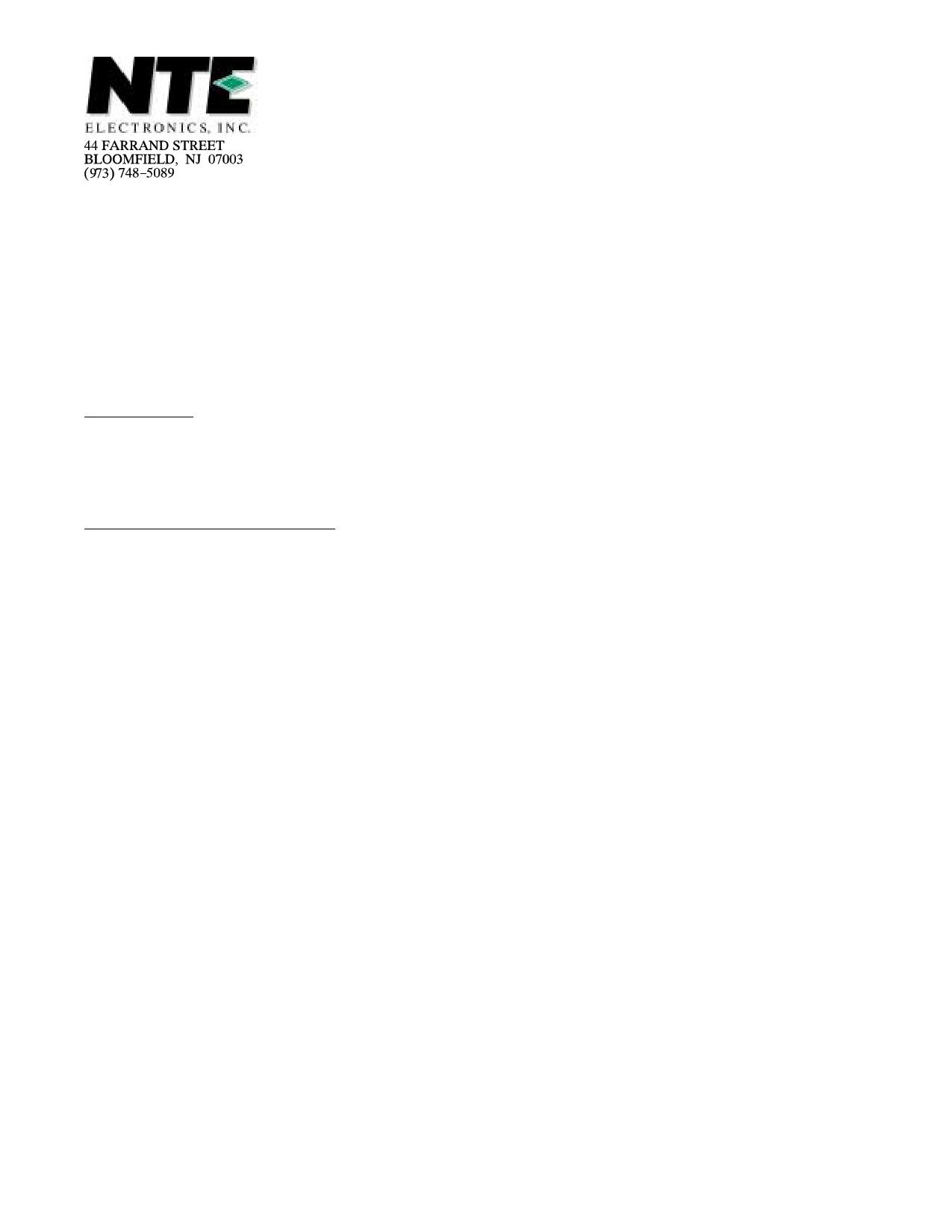 NTE5541 دیتاشیت PDF