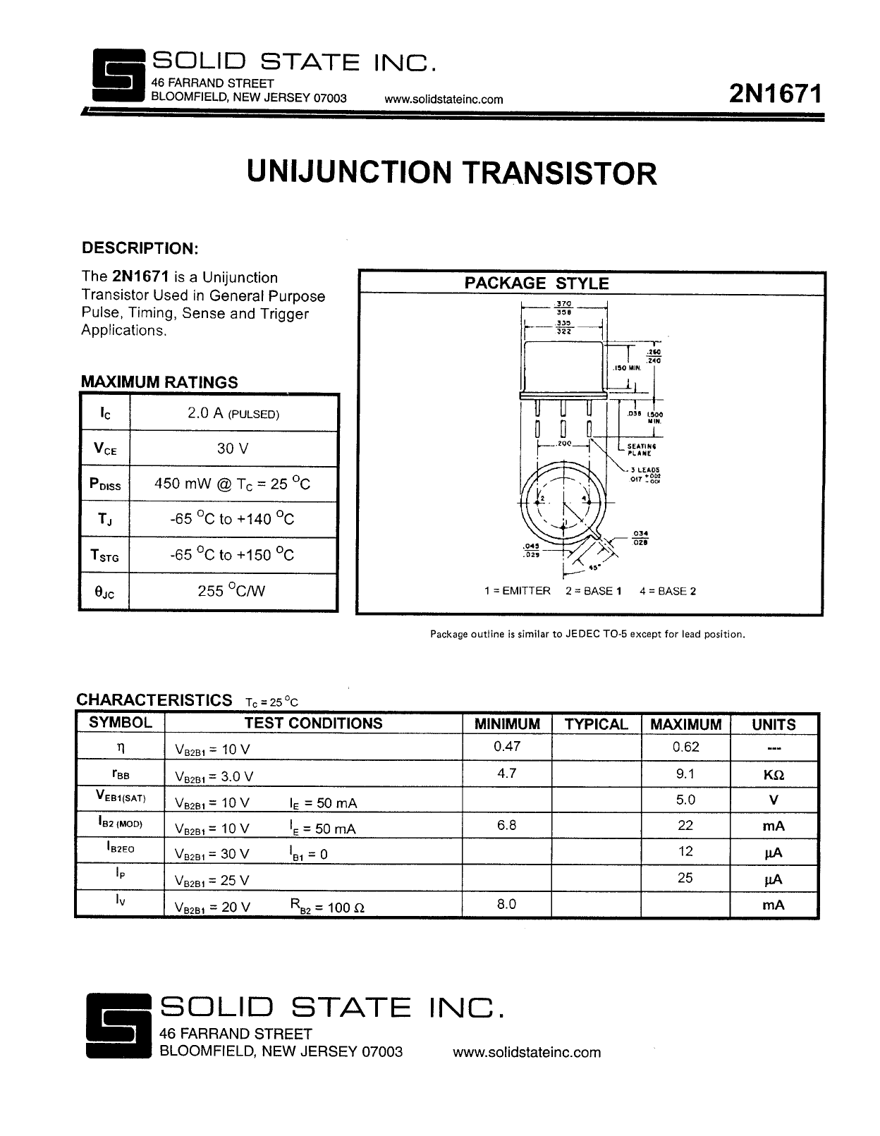 2N1671 دیتاشیت PDF