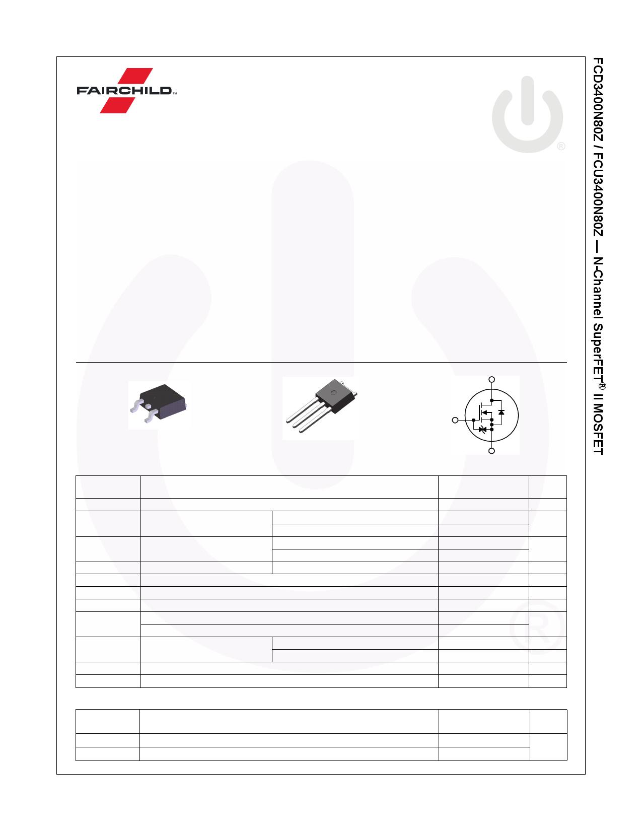 FCU3400N80Z datasheet
