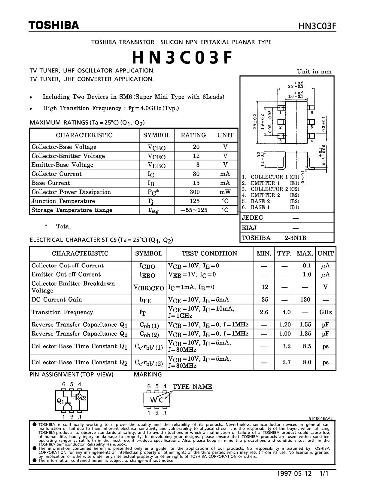 hn3c03f datasheet pdf   pinout     uhf oscillator