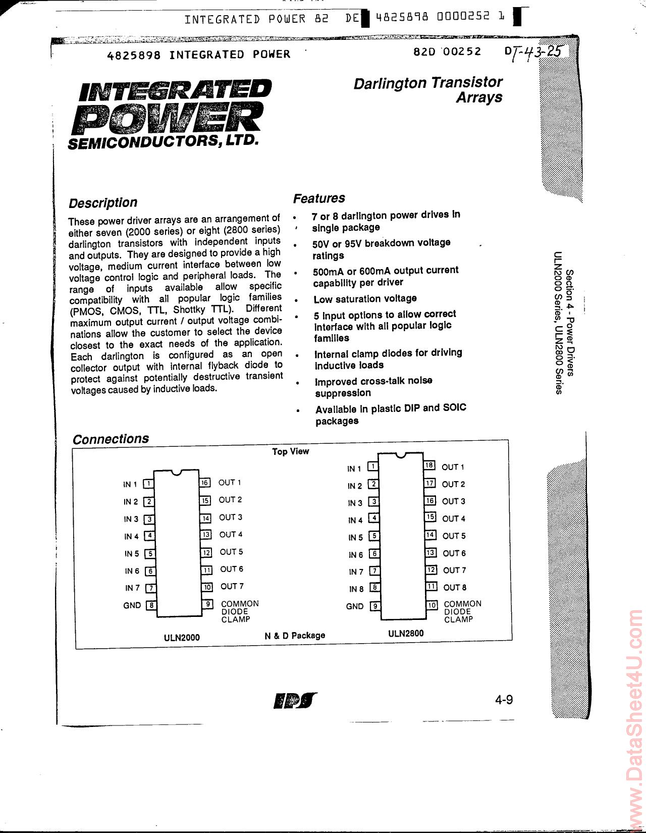 ULN2022 Datasheet, ULN2022 PDF,ピン配置, 機能