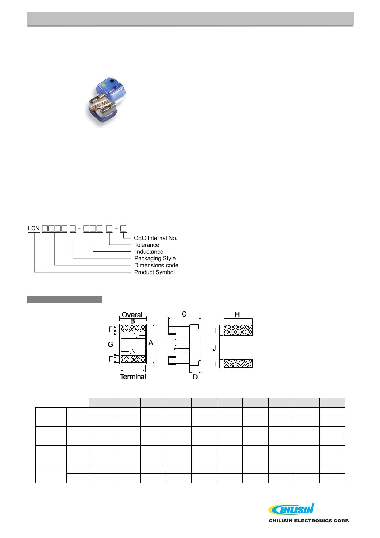 LCN0805T 데이터시트 및 LCN0805T PDF
