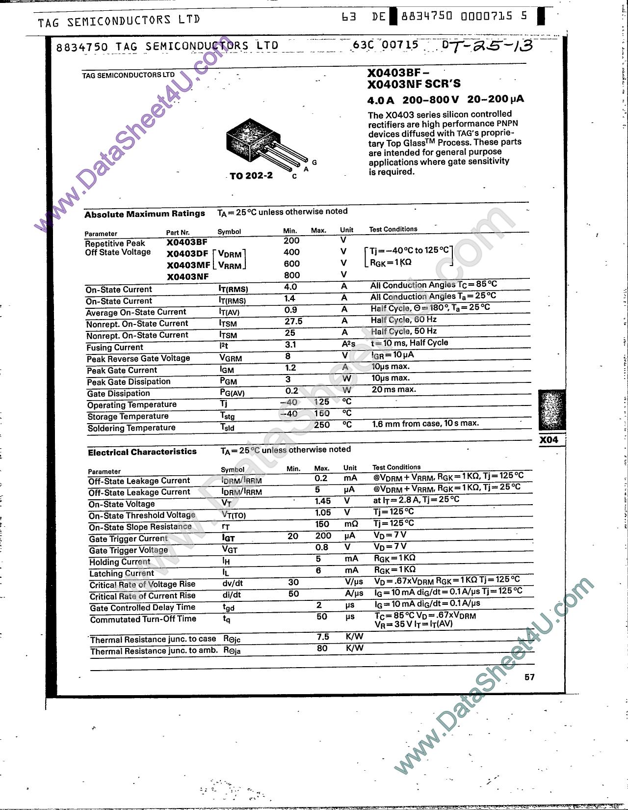 X0403BF دیتاشیت PDF